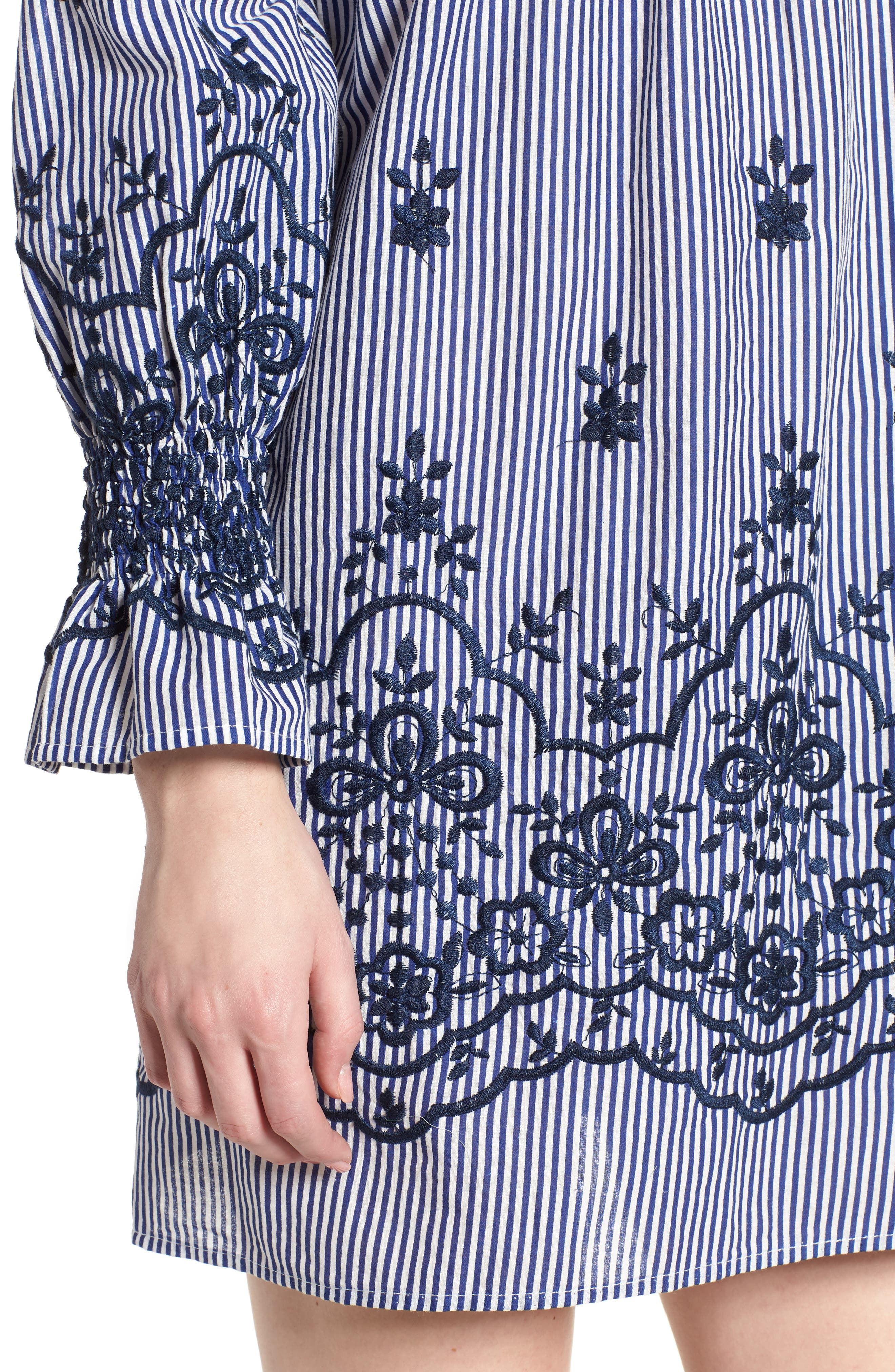 Bishop + Young Stripe Embroidered Off the Shoulder Dress,                             Alternate thumbnail 4, color,