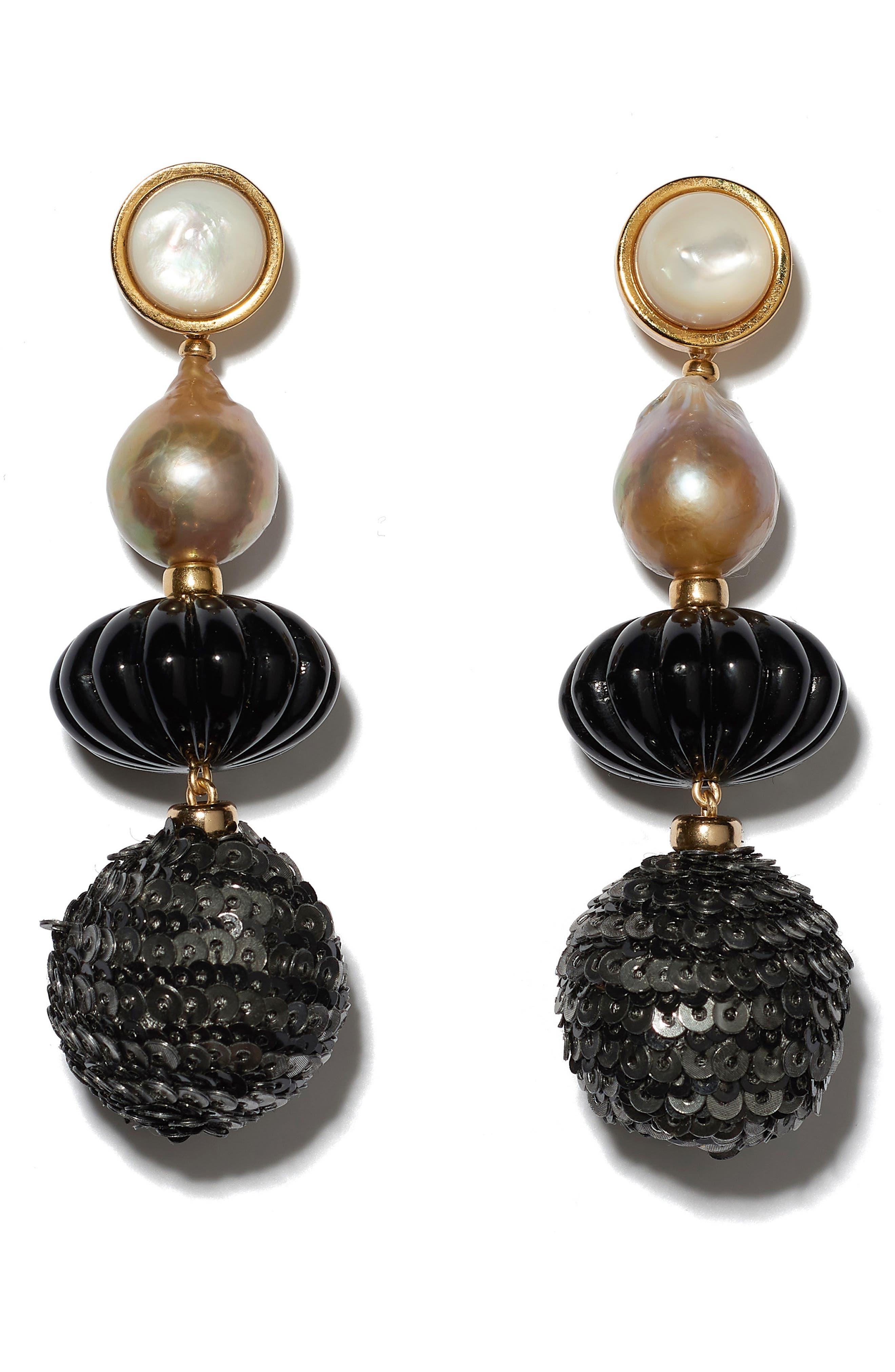 Masquerade Ball Earrings,                         Main,                         color, BLACK