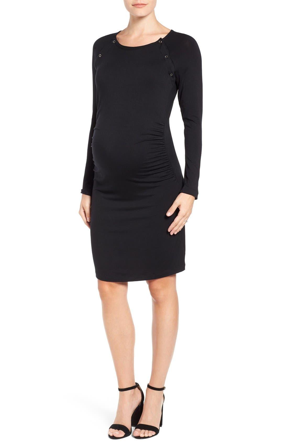 'Alex' Ruched Maternity/Nursing Dress,                             Main thumbnail 1, color,                             BLACK