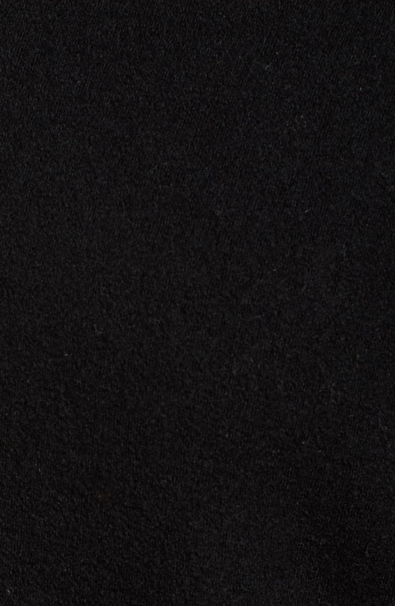 Funnel Neck Crop Merino Wool Sweatshirt,                             Alternate thumbnail 5, color,                             001
