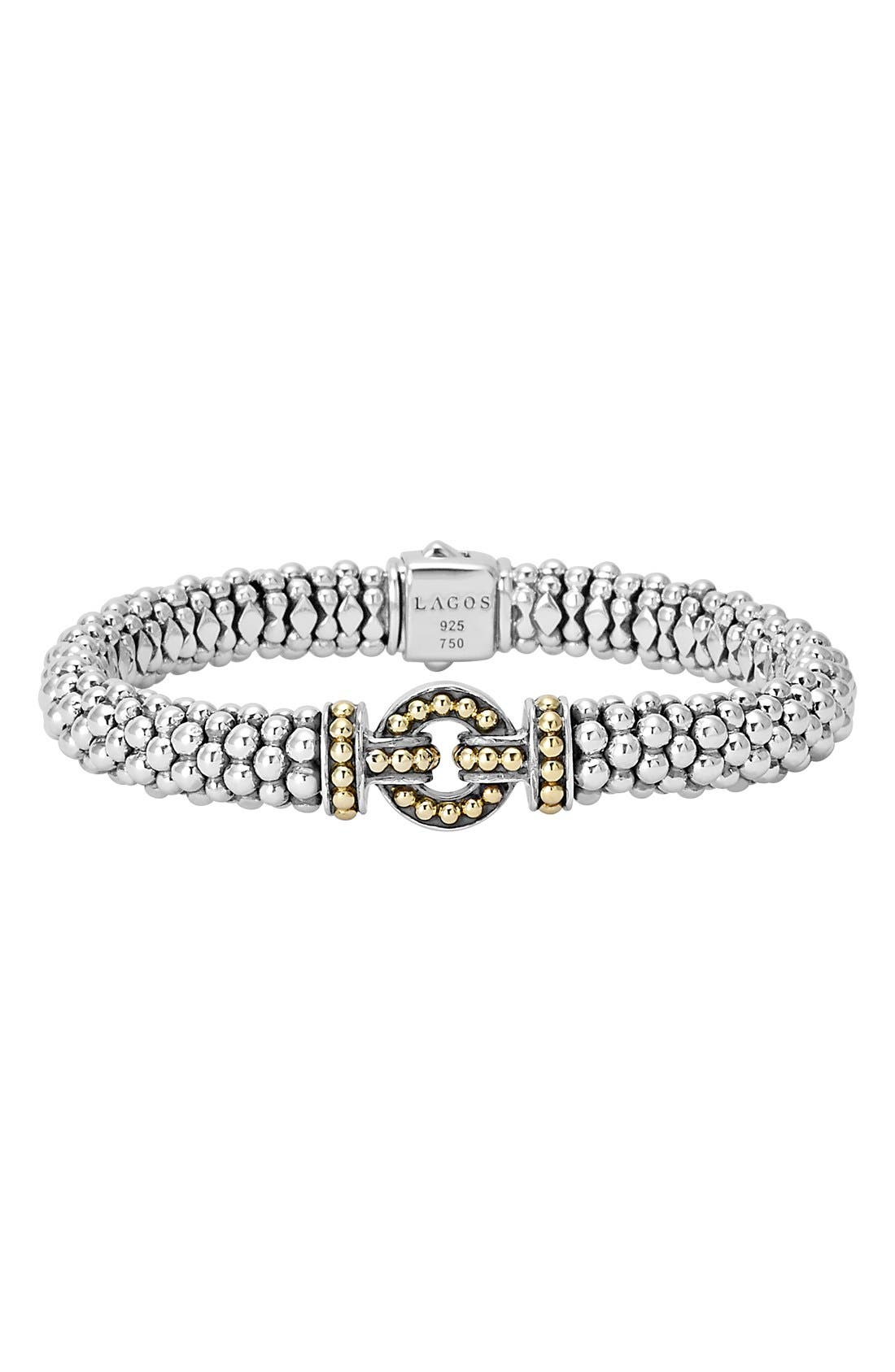 'Enso' Two-Tone Rope Caviar Bracelet,                         Main,                         color, SILVER/ GOLD