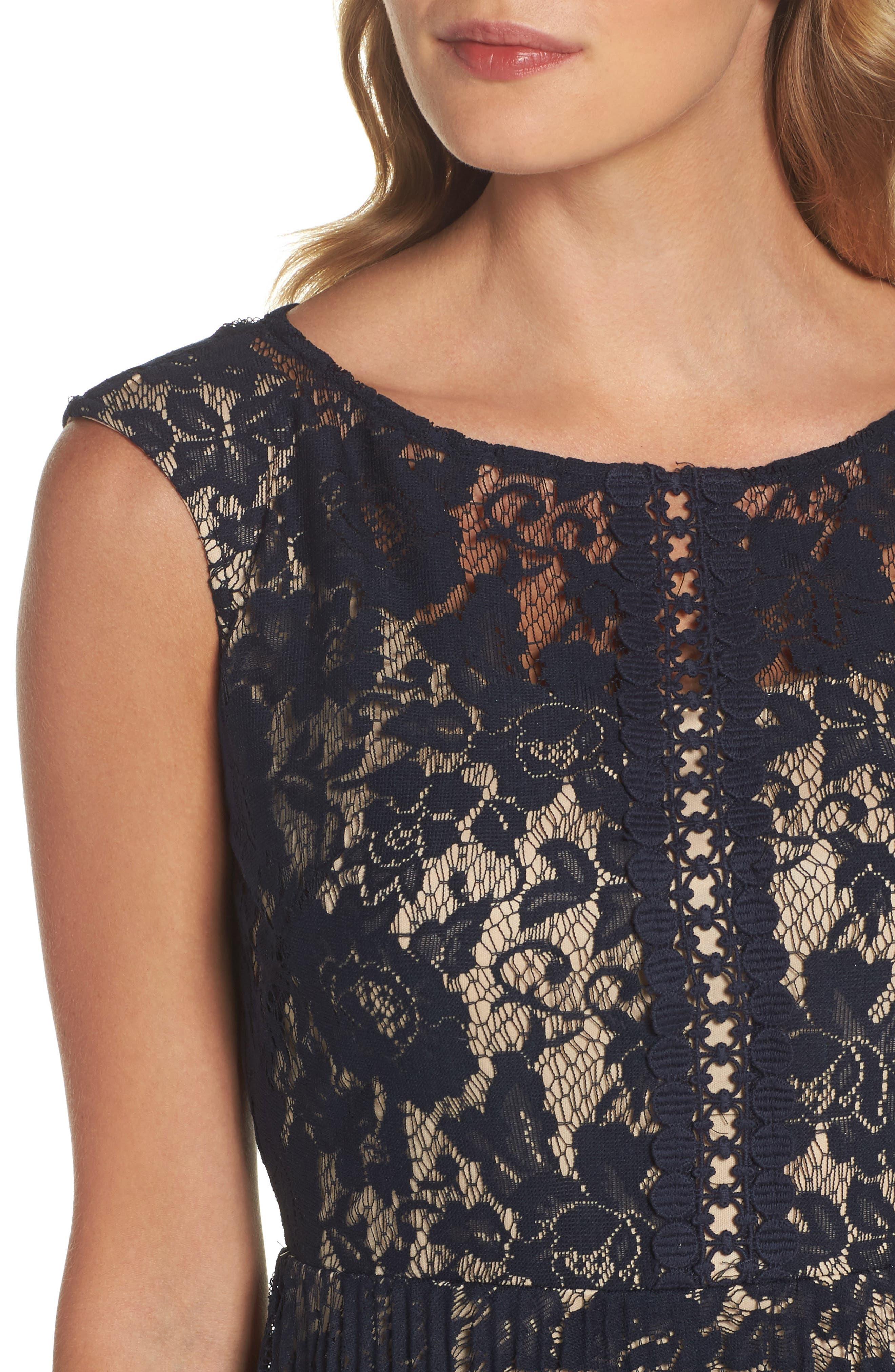 Lace Fit & Flare Dress,                             Alternate thumbnail 7, color,