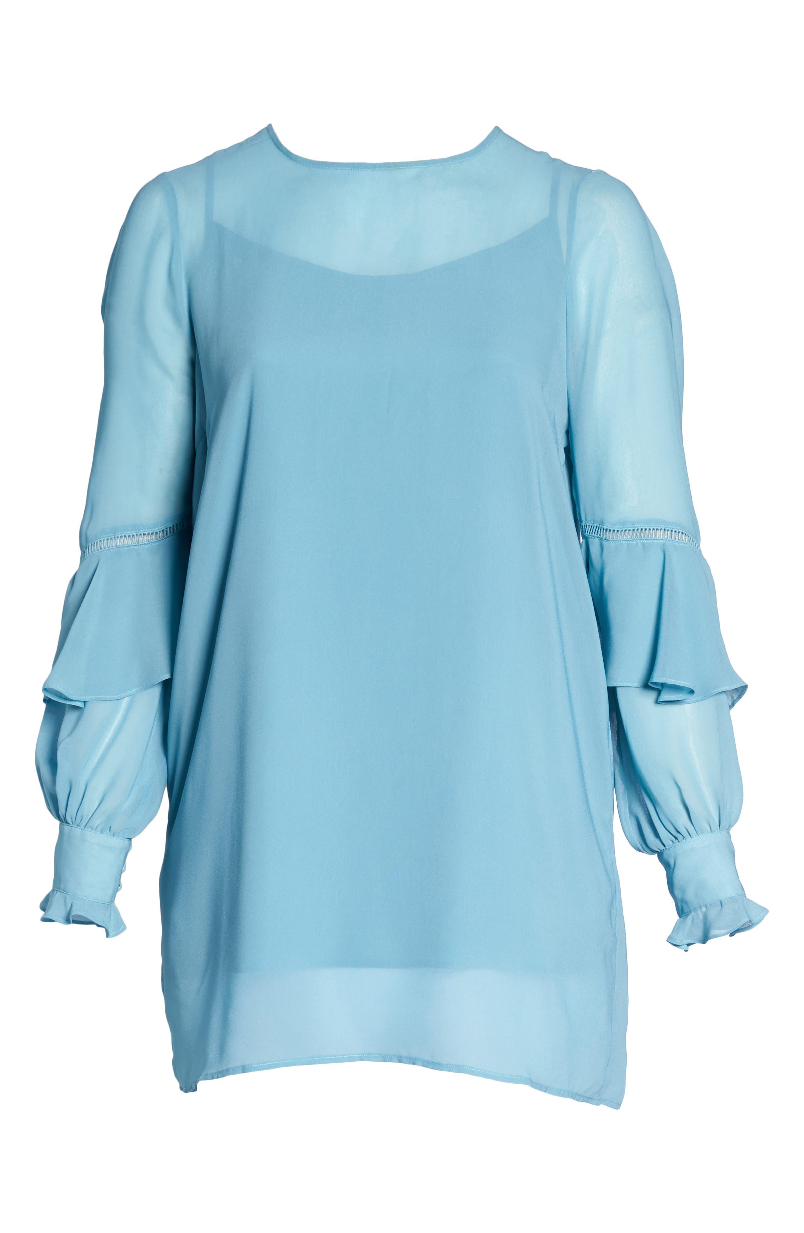 Galaxy Waters Ruffle Sleeve Shift Dress,                             Alternate thumbnail 6, color,                             422