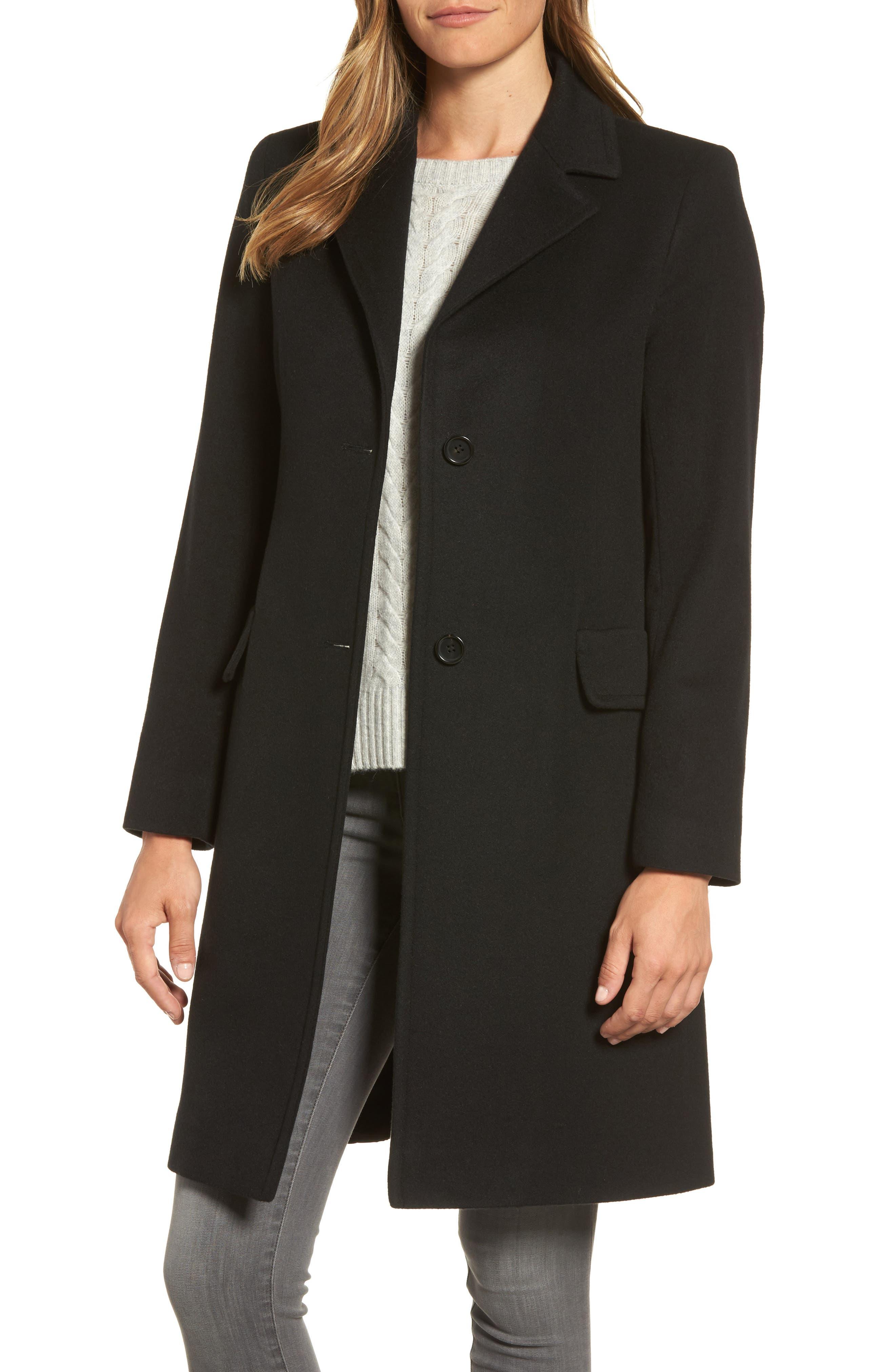 FLEURETTE Modern Reefer Coat, Main, color, 001