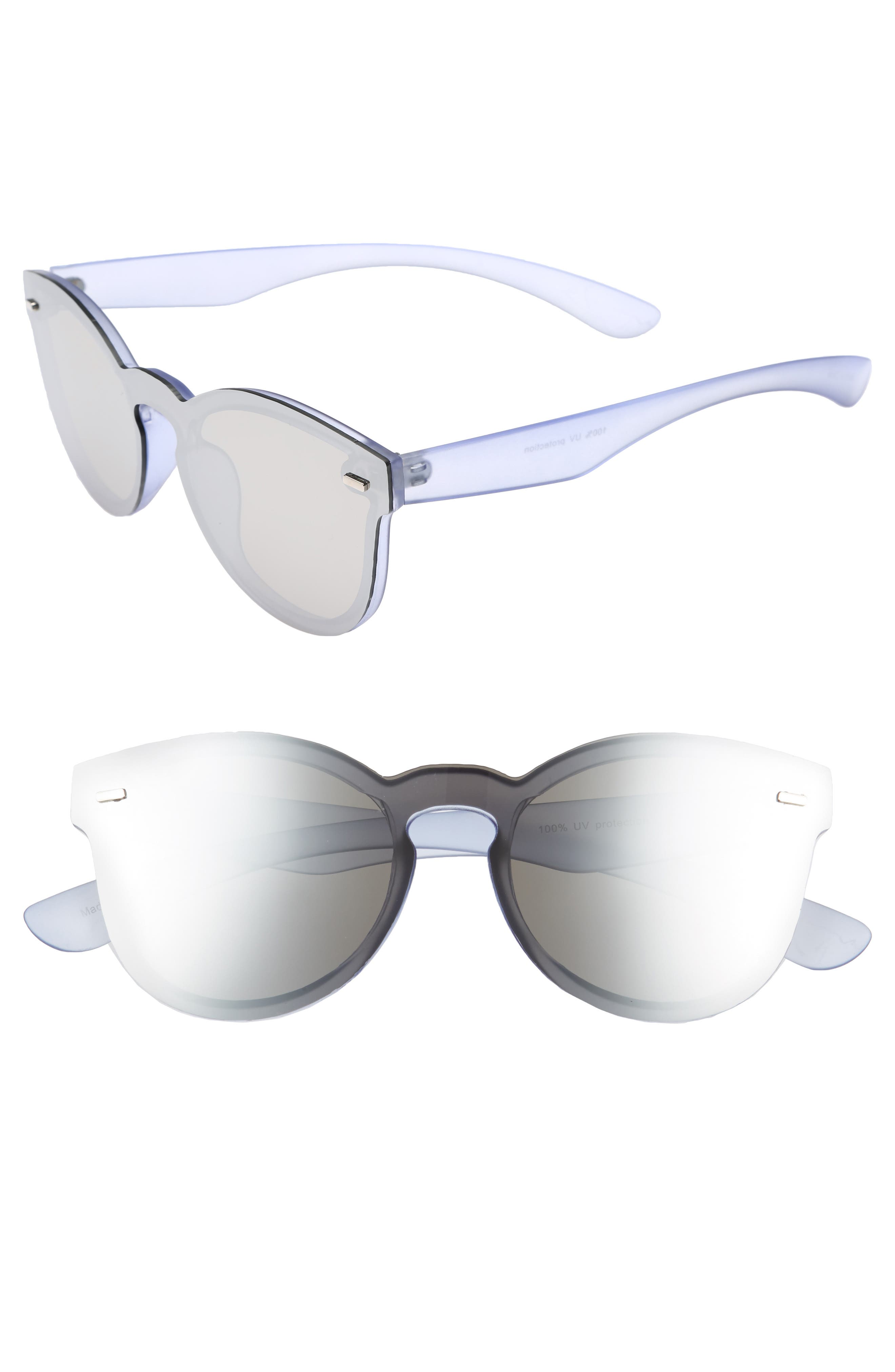 50mm Mirrored Lens Rimless Sunglasses,                         Main,                         color, 400