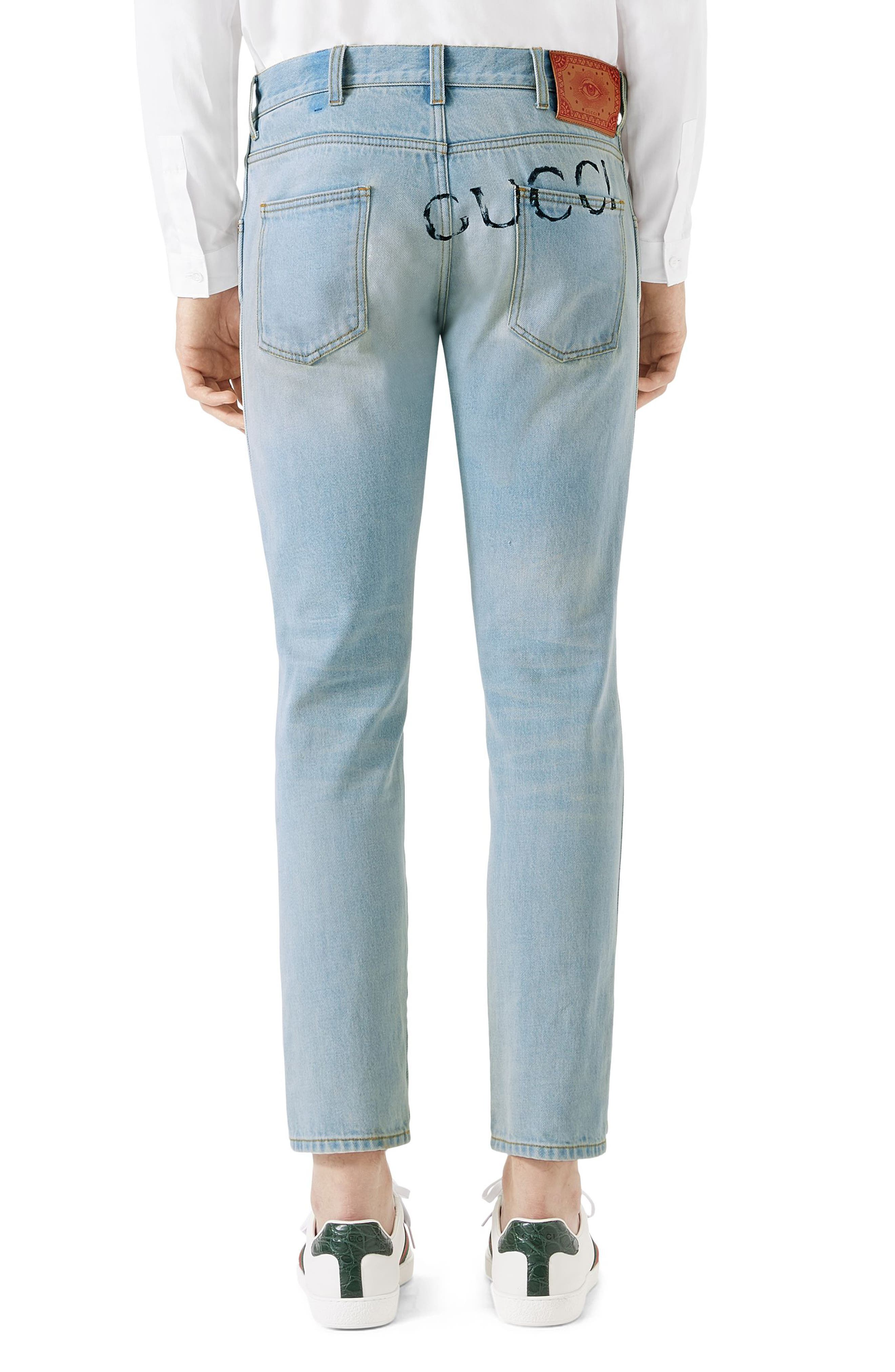 Tapered Crop Jeans,                             Alternate thumbnail 2, color,                             WASHED