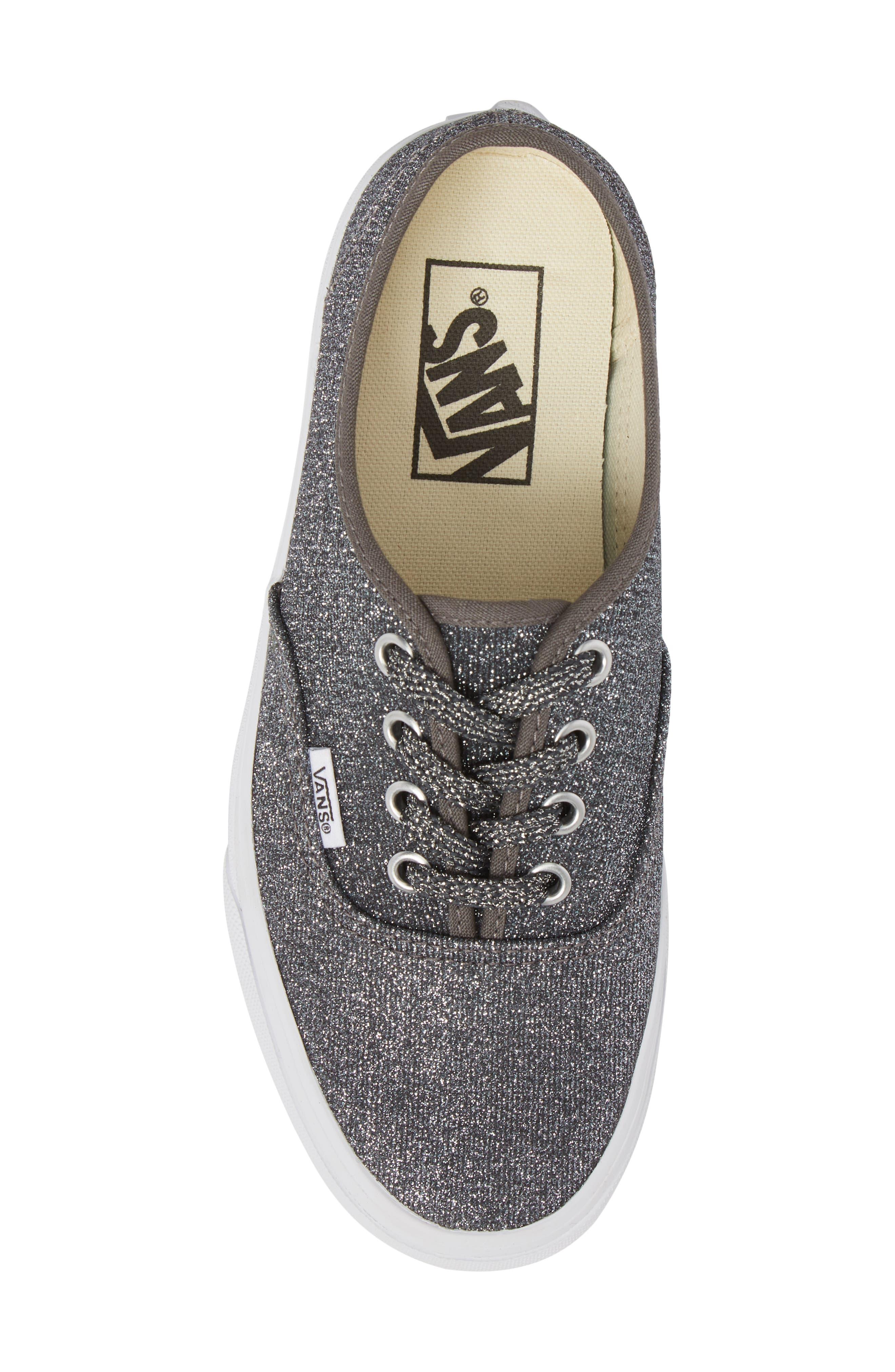 UA Authentic Lurex Sneaker,                             Alternate thumbnail 5, color,                             BLACK/ TRUE WHITE GLITTER