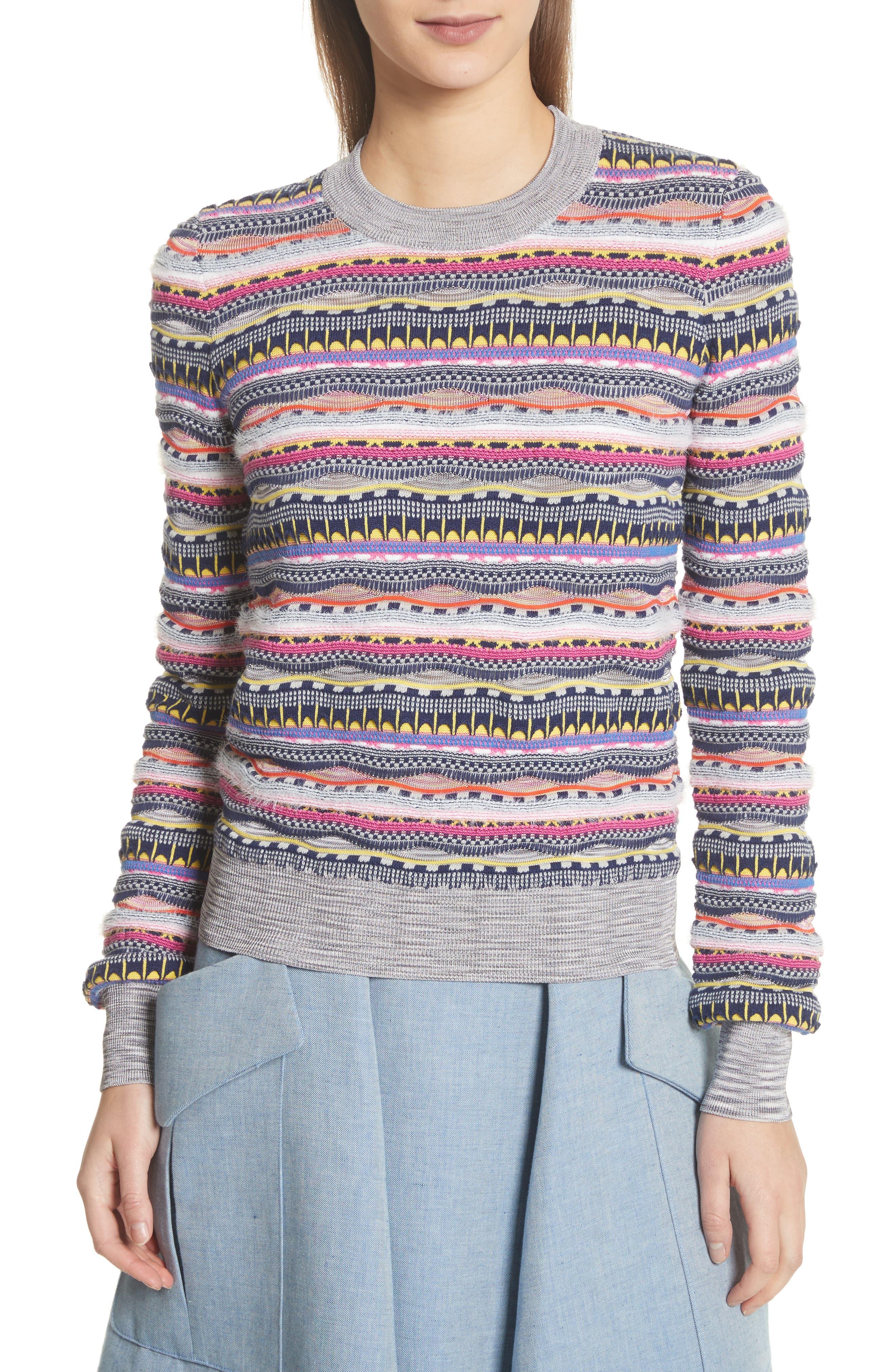 Knit Cotton Blend Sweater,                             Main thumbnail 1, color,