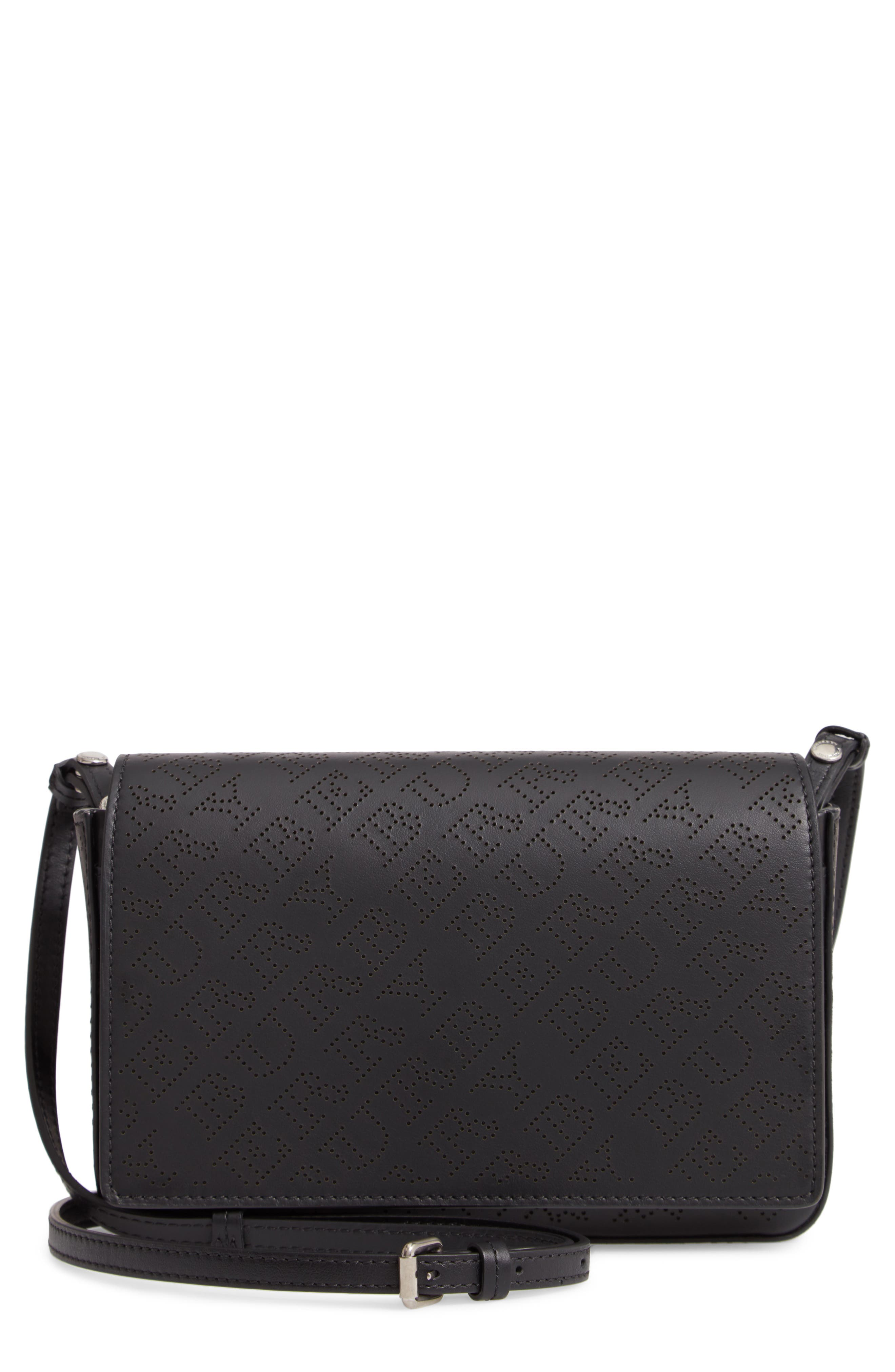Hampshire Perforated Leather Crossbody Bag,                         Main,                         color, BLACK