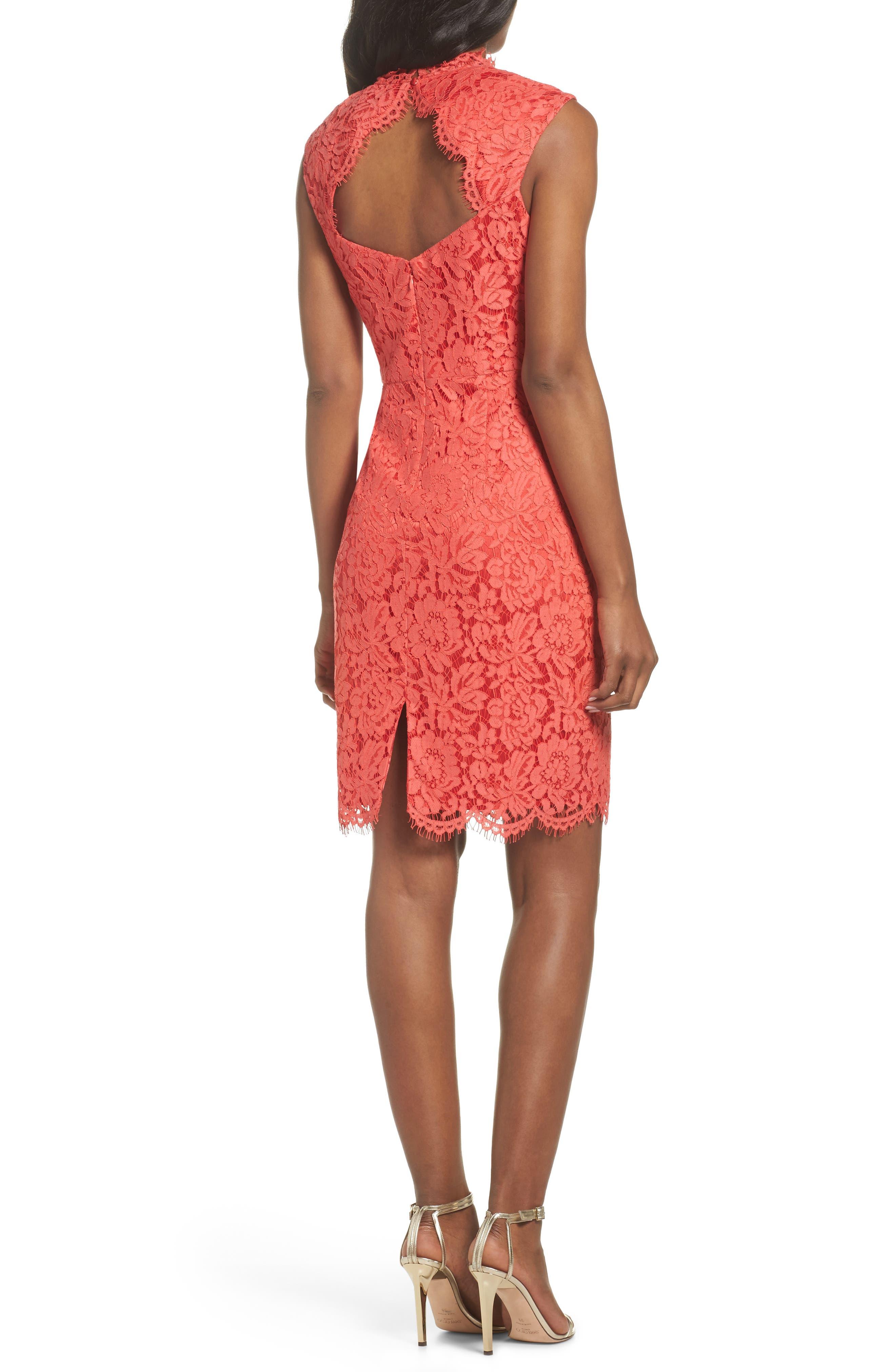 Open Back Lace Sheath Dress,                             Alternate thumbnail 2, color,                             GRENADINE