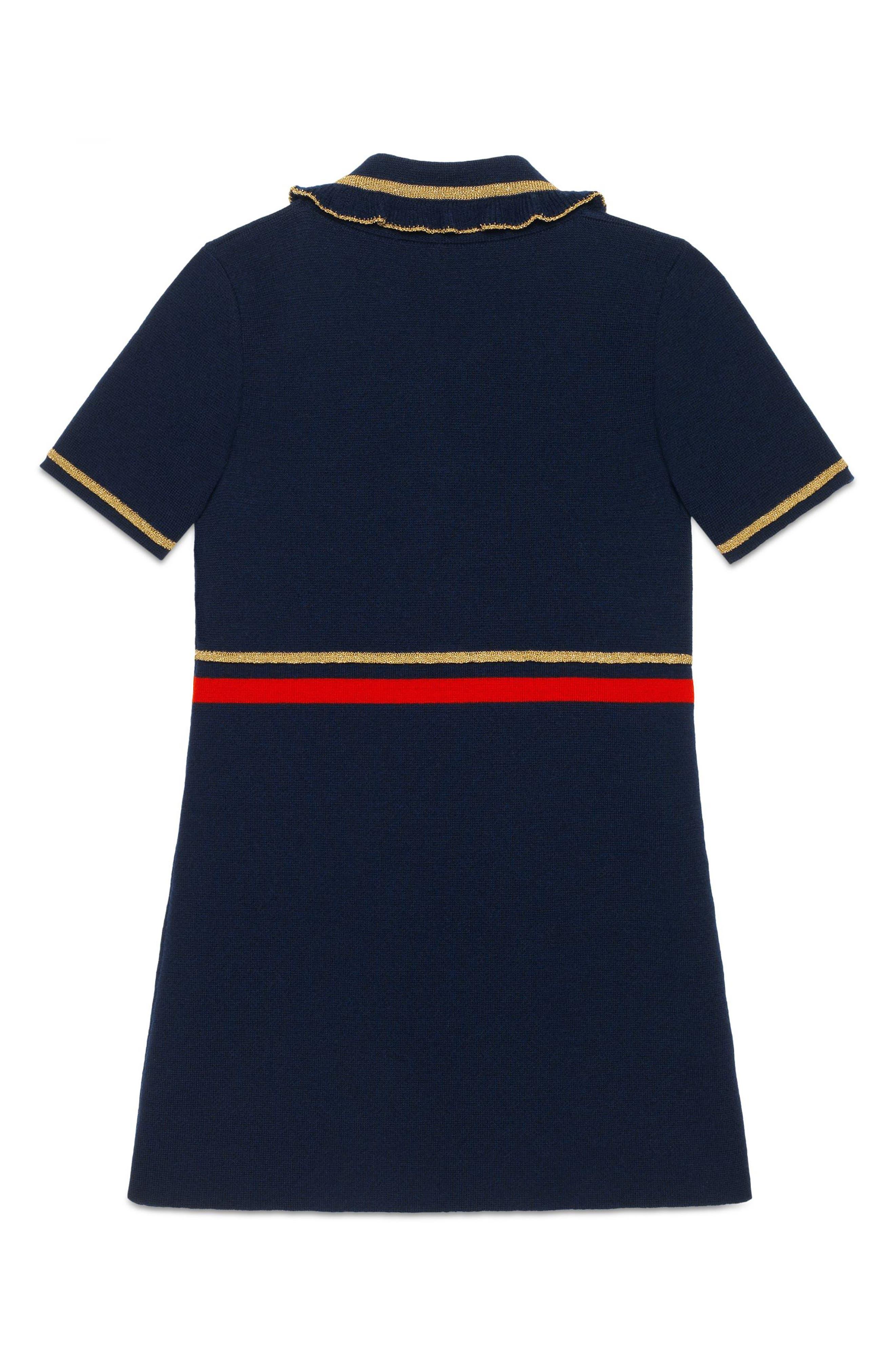 Wool Polo Dress,                             Alternate thumbnail 2, color,                             BLUE MULTI