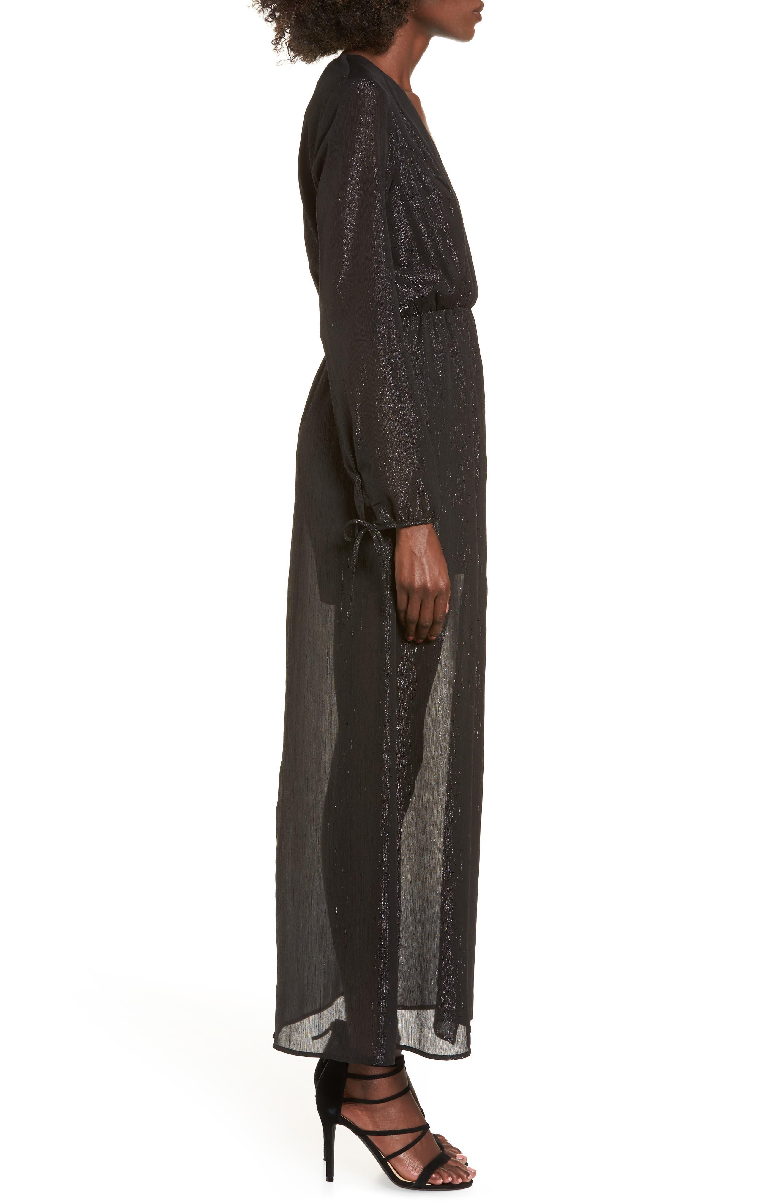 Metallic Surplice Dress,                             Alternate thumbnail 3, color,                             002