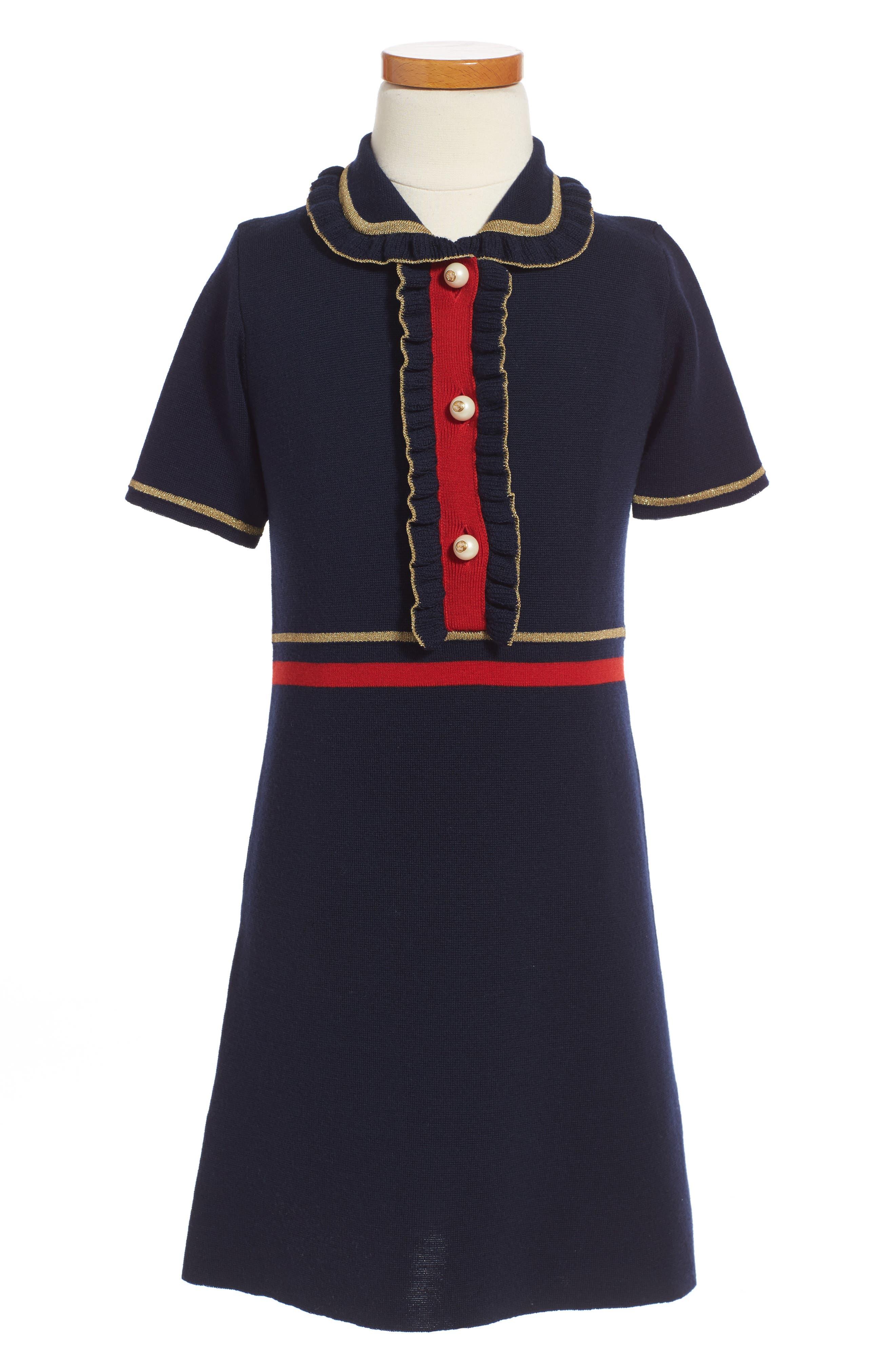 Wool Polo Dress,                         Main,                         color, BLUE MULTI