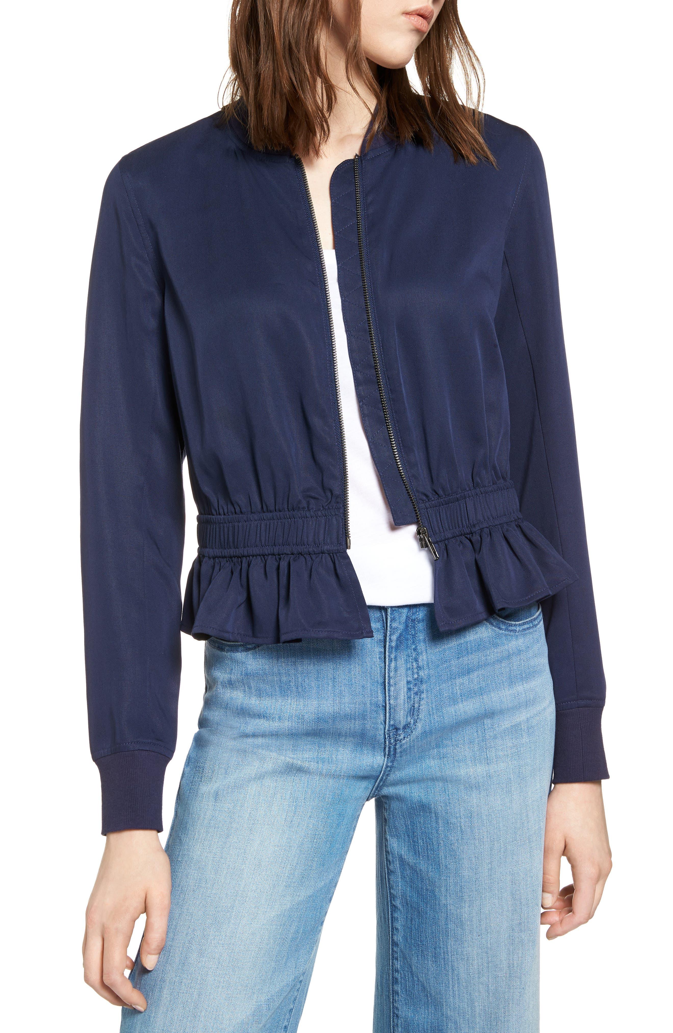 Ruffle Hem Zip Front Jacket,                         Main,                         color,
