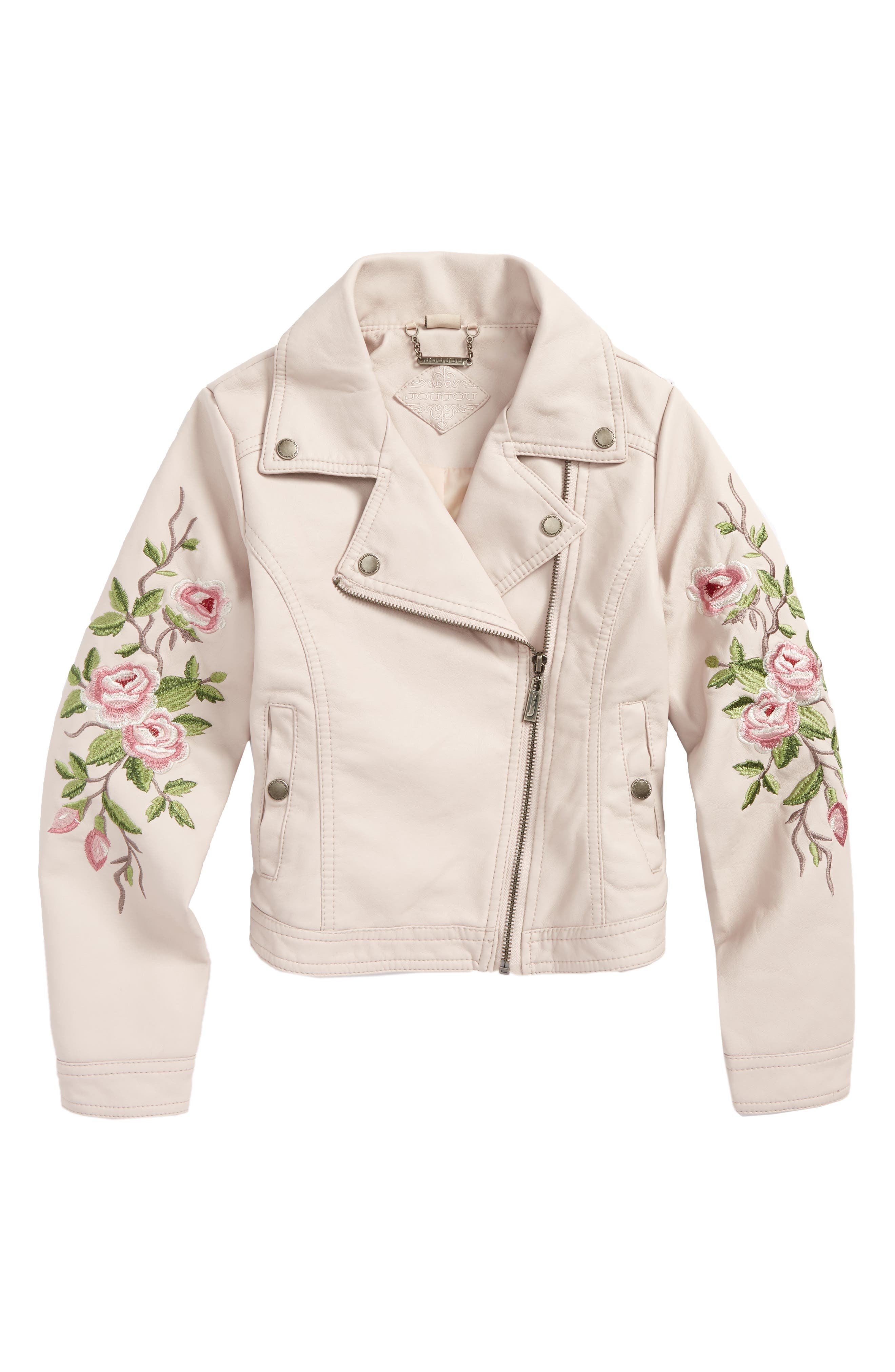Embroidered Faux Leather Moto Jacket,                             Main thumbnail 2, color,
