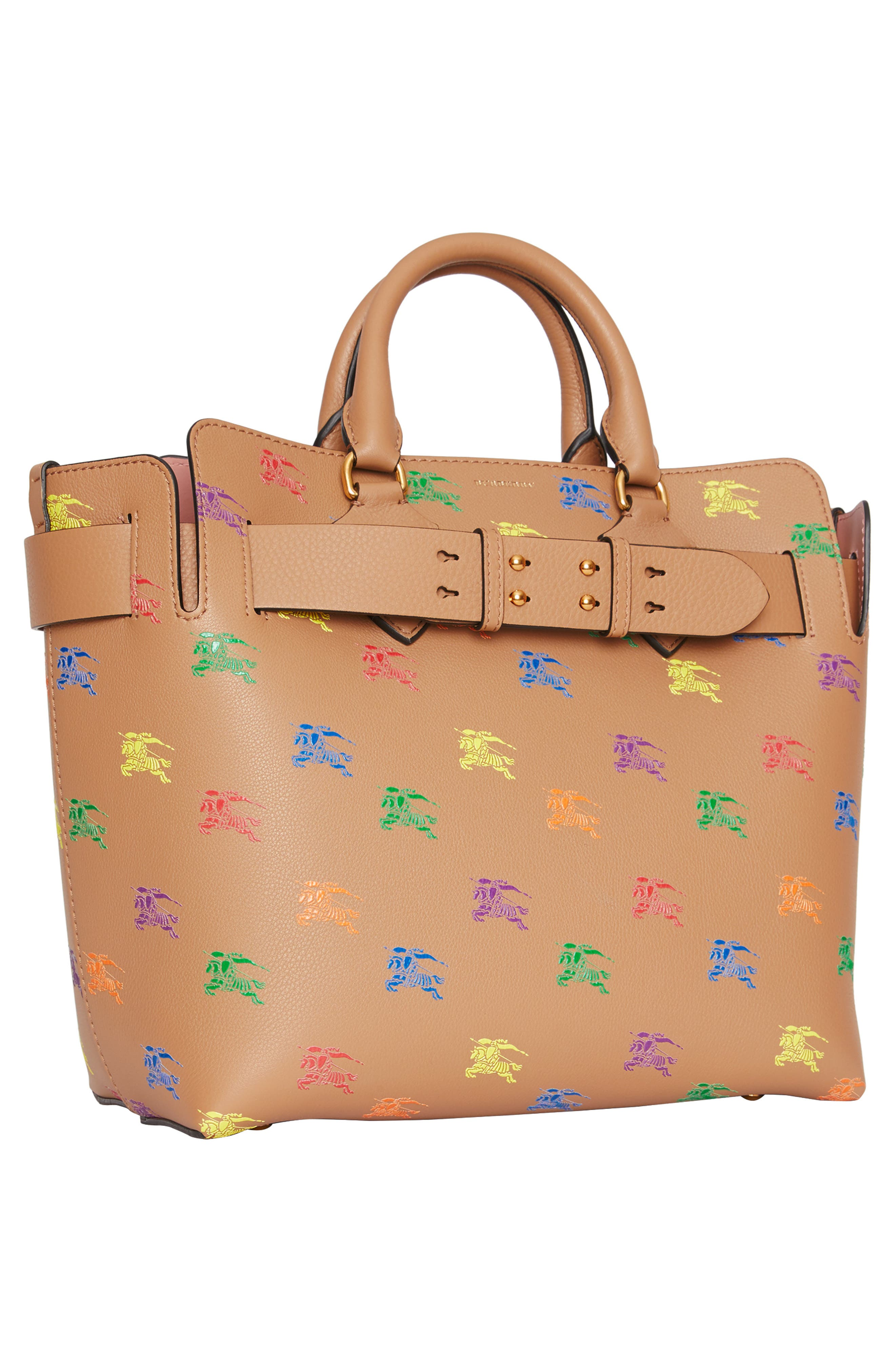 Baby Belt Bag Rainbow Logo Leather Tote,                             Alternate thumbnail 9, color,                             LIGHT CAMEL