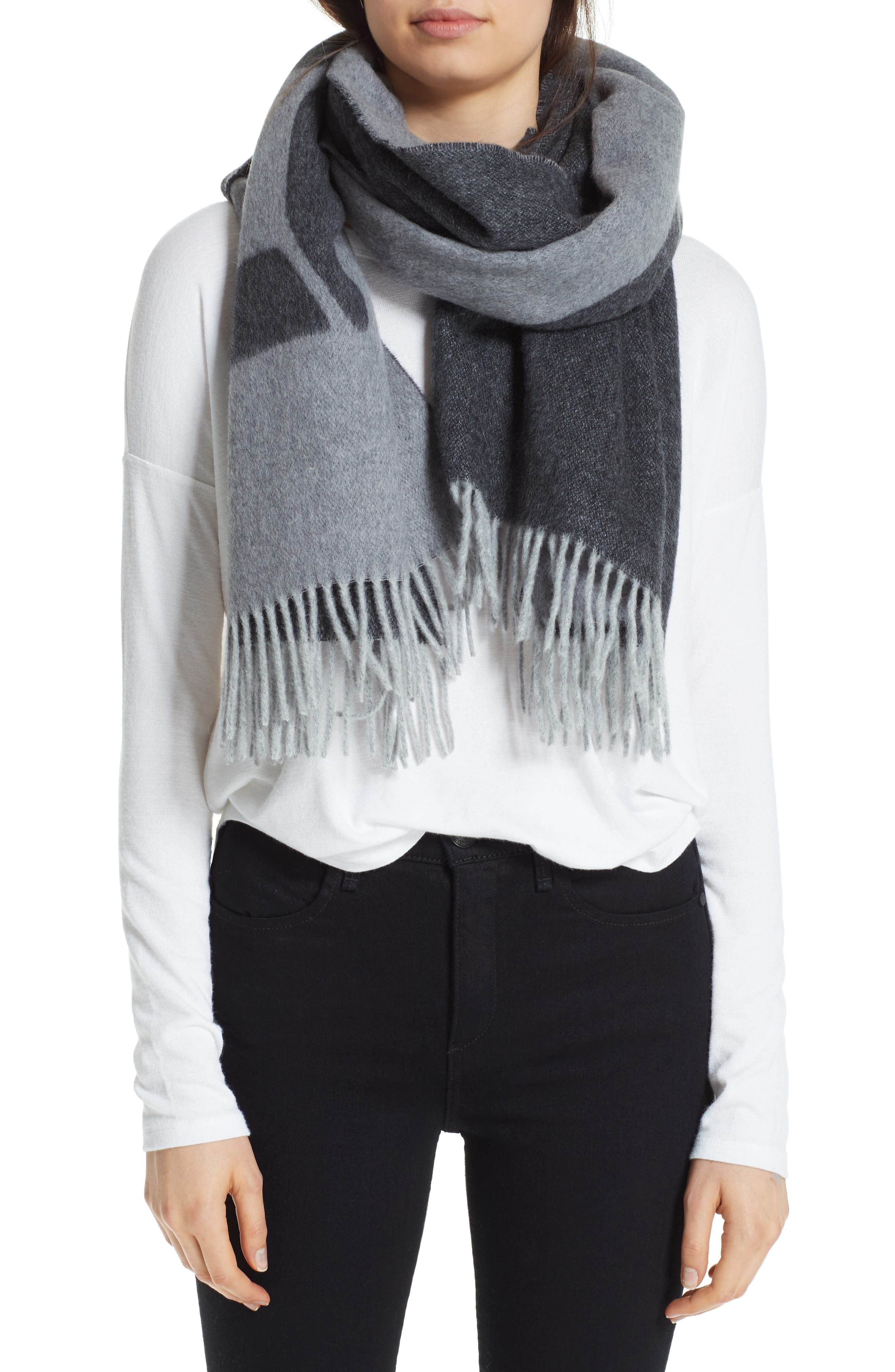 Graphic Wool Scarf,                         Main,                         color, GREY MULTI