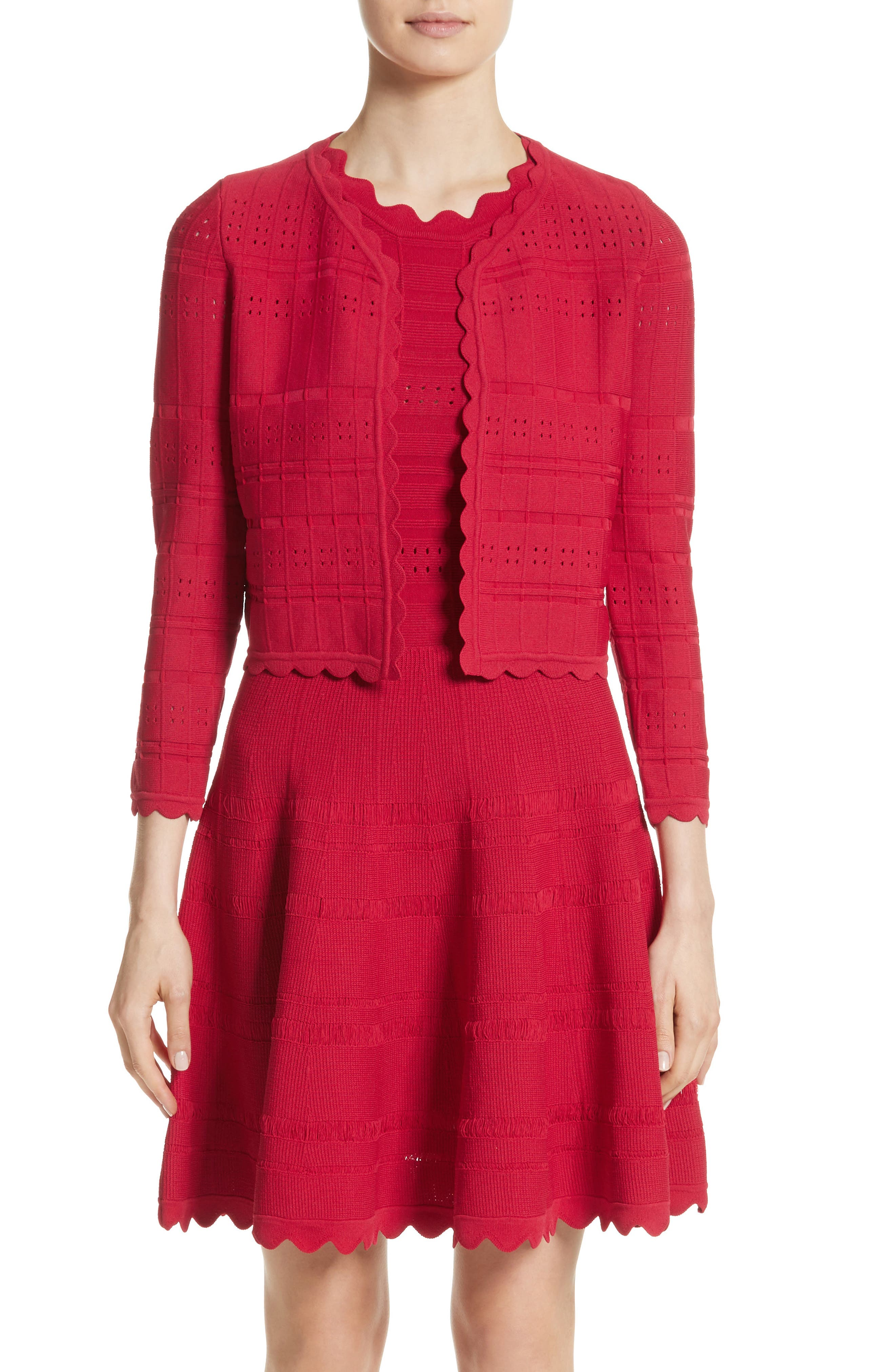 Scallop Trim Knit Dress,                             Alternate thumbnail 8, color,                             620