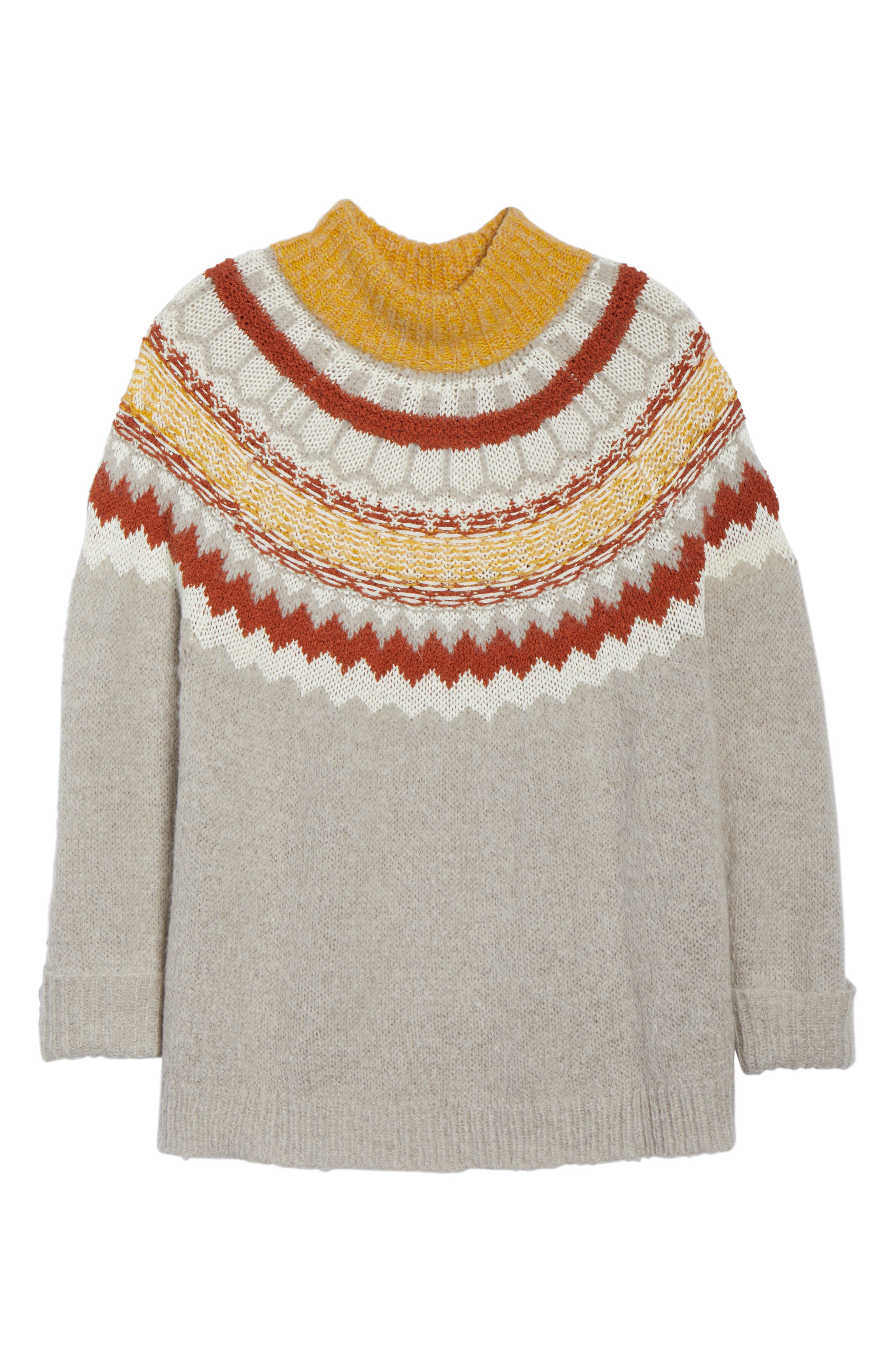 Chunky Jacquard Sweater,                             Alternate thumbnail 6, color,                             TAN COBBLESTONE FOLIAGE PTN