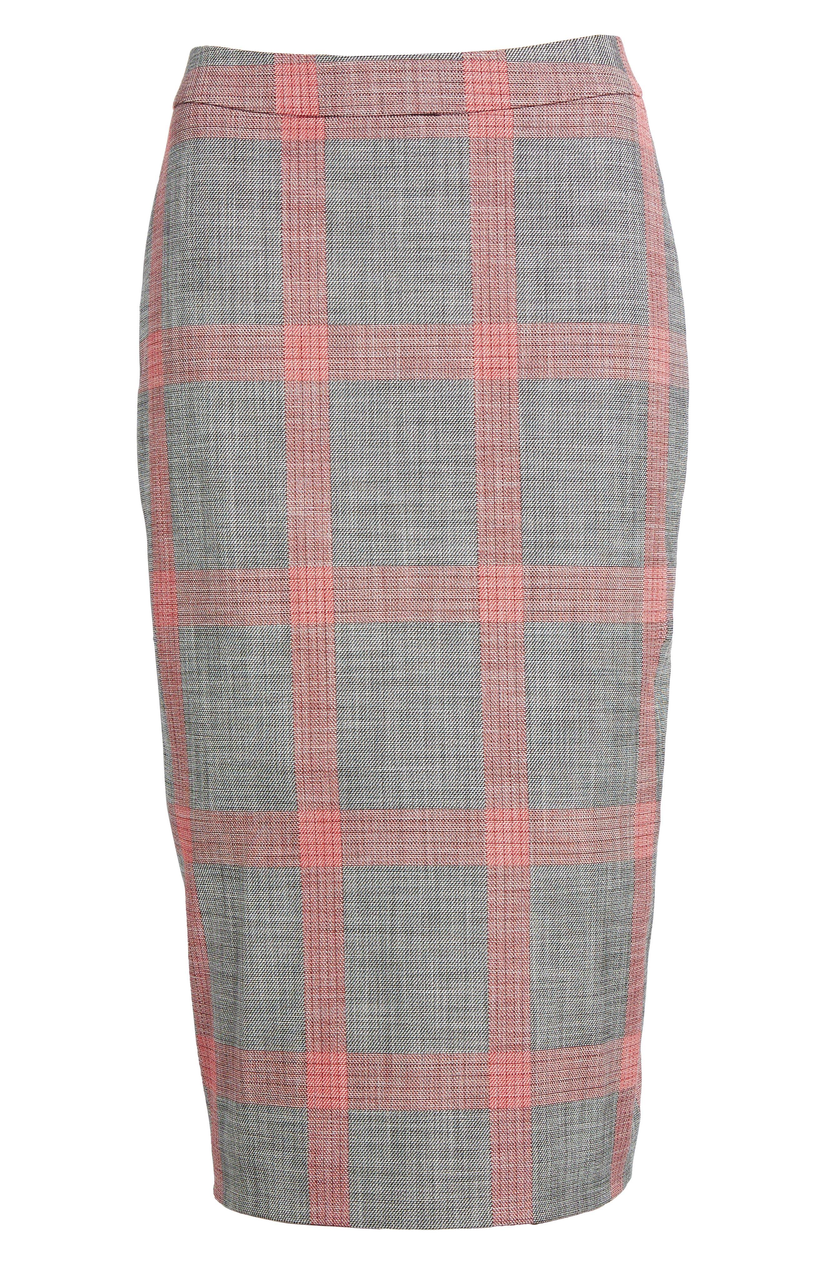Plaid Pencil Skirt,                             Alternate thumbnail 6, color,                             001