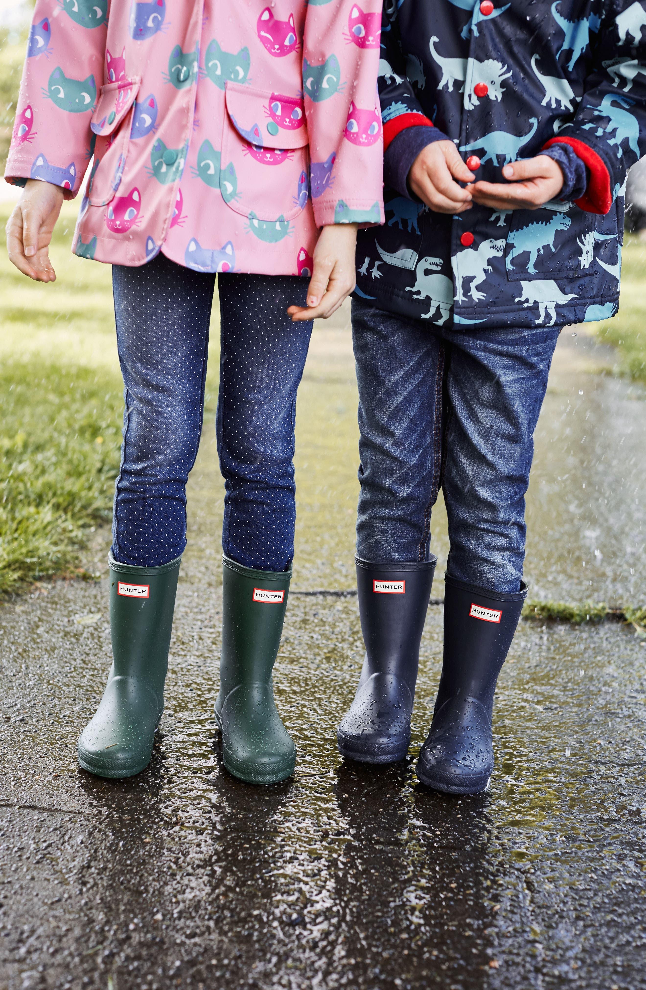 HUNTER,                             First Classic Waterproof Rain Boot,                             Alternate thumbnail 7, color,                             GULL GREY/ BUCKET BLUE/ NAVY