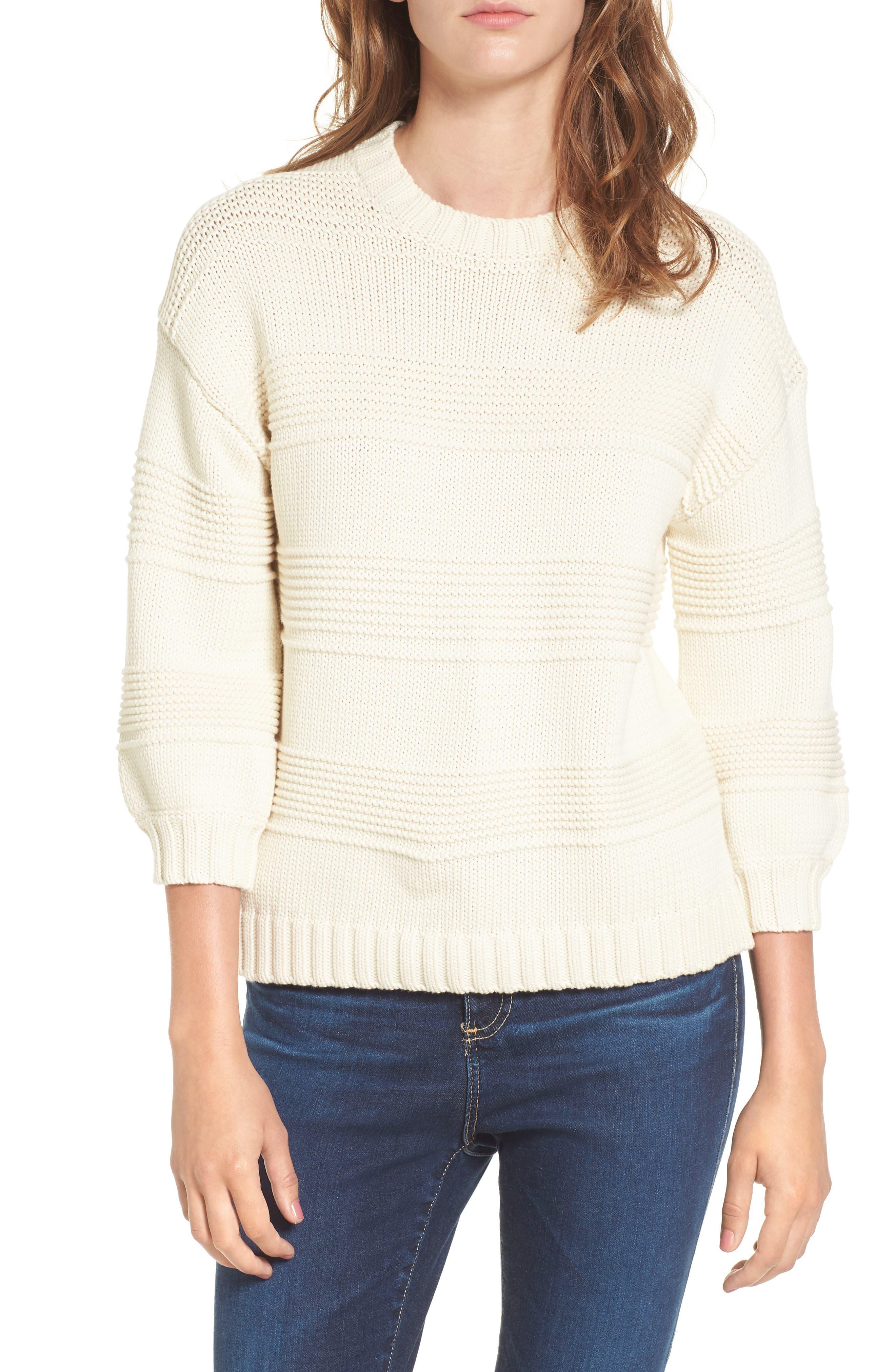 Sabrina Crewneck Sweater,                             Main thumbnail 1, color,                             BRIGHT CREAM