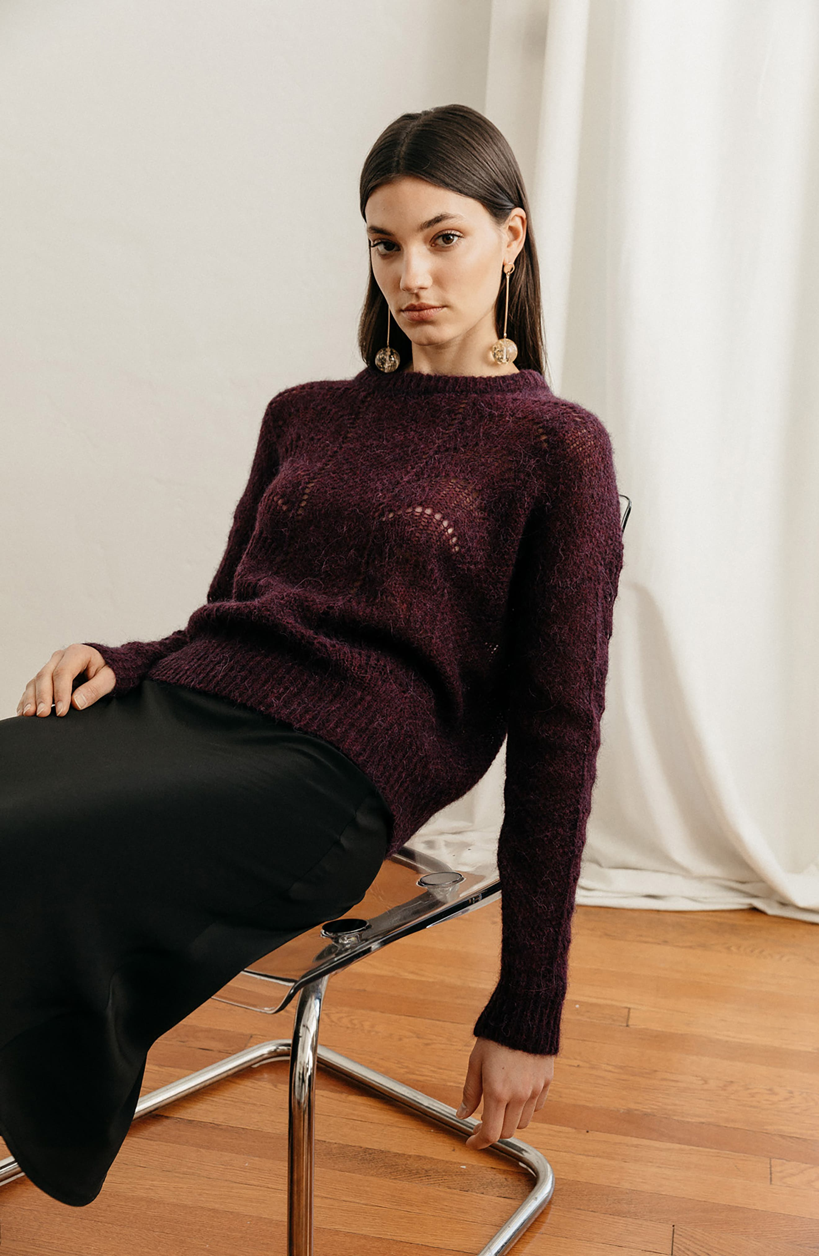 Mara Sweater,                             Alternate thumbnail 7, color,                             BLACKBERRY