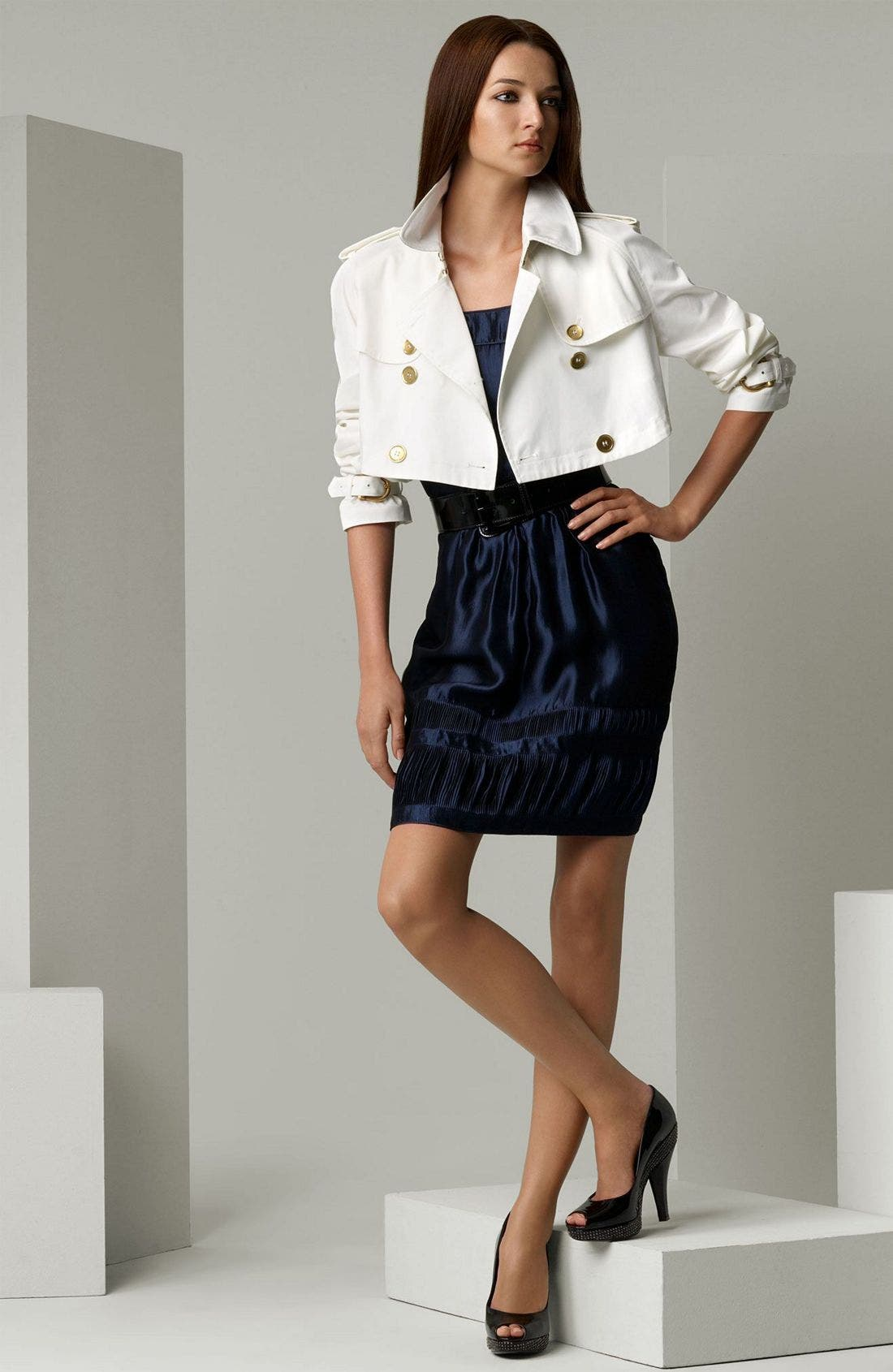 London Cotton Drill Cropped Trench Coat,                             Main thumbnail 1, color,                             100