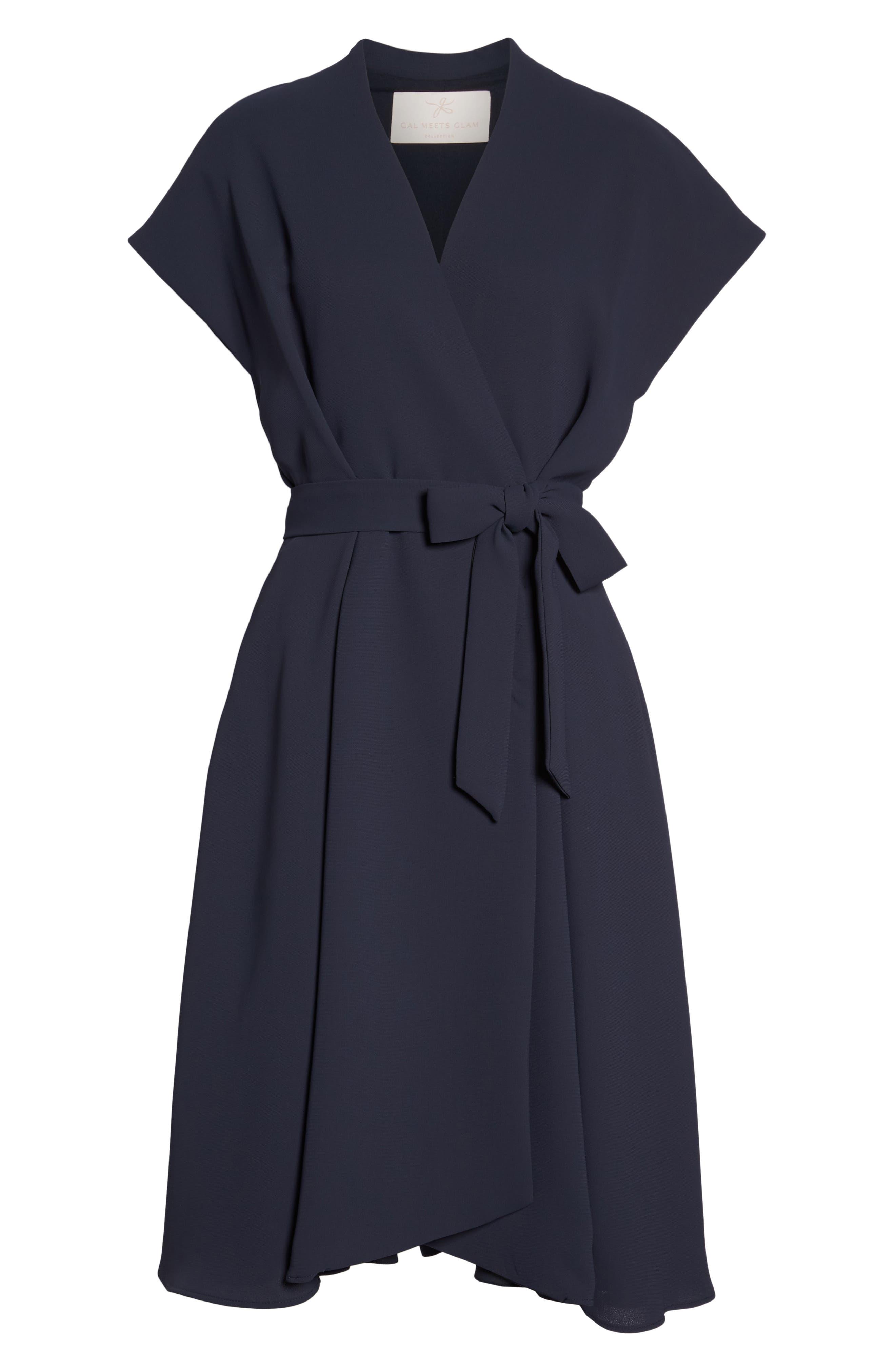 Audrey Wrap Dress,                             Alternate thumbnail 7, color,                             NAVY