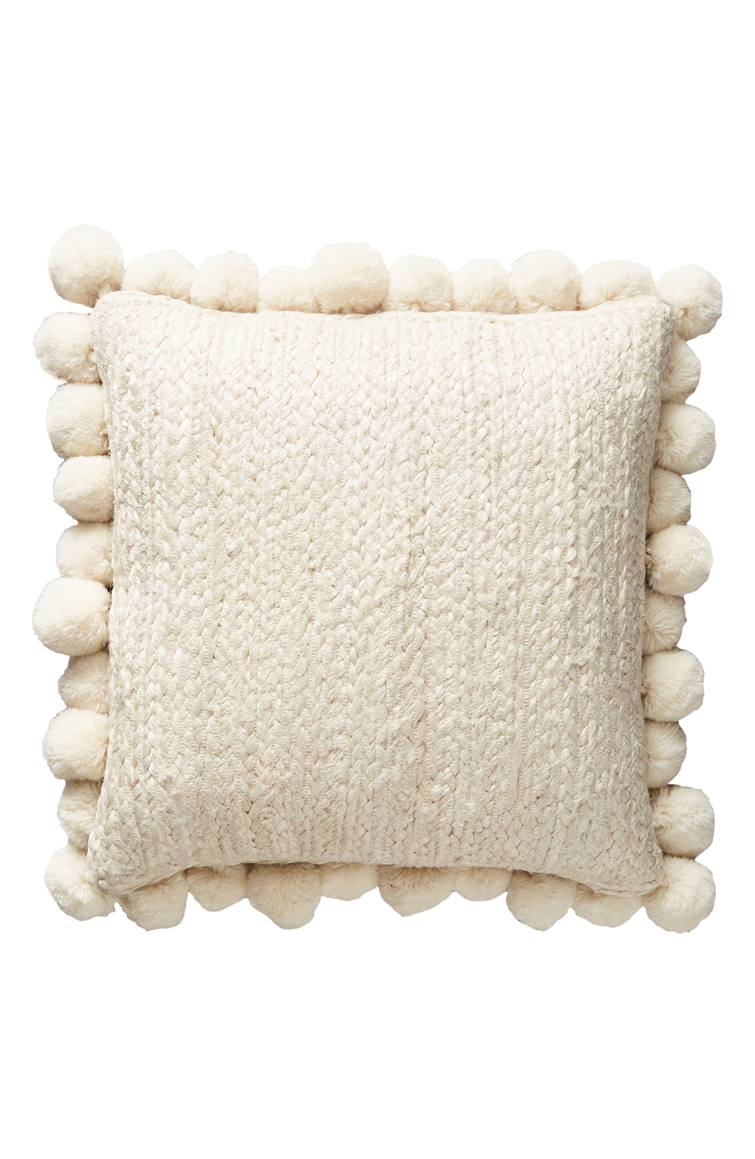 Pompom Jute Accent Pillow,                             Alternate thumbnail 4, color,                             IVORY