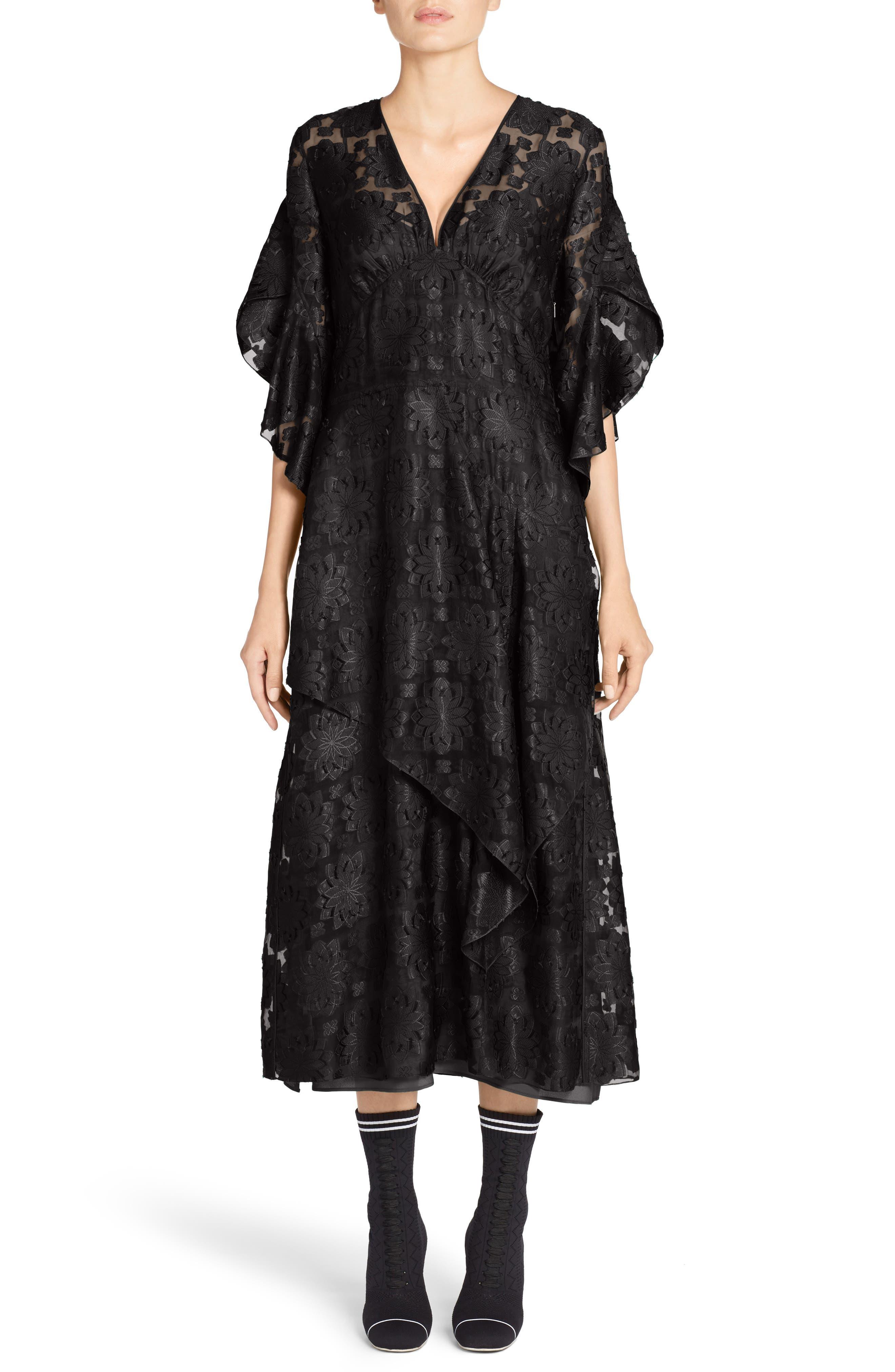 Daisy Fil Coupé Midi Dress,                             Main thumbnail 1, color,                             001