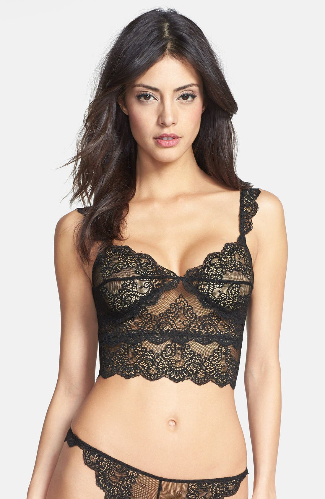 'So Fine' Cropped Lace Camisole,                             Main thumbnail 1, color,                             001