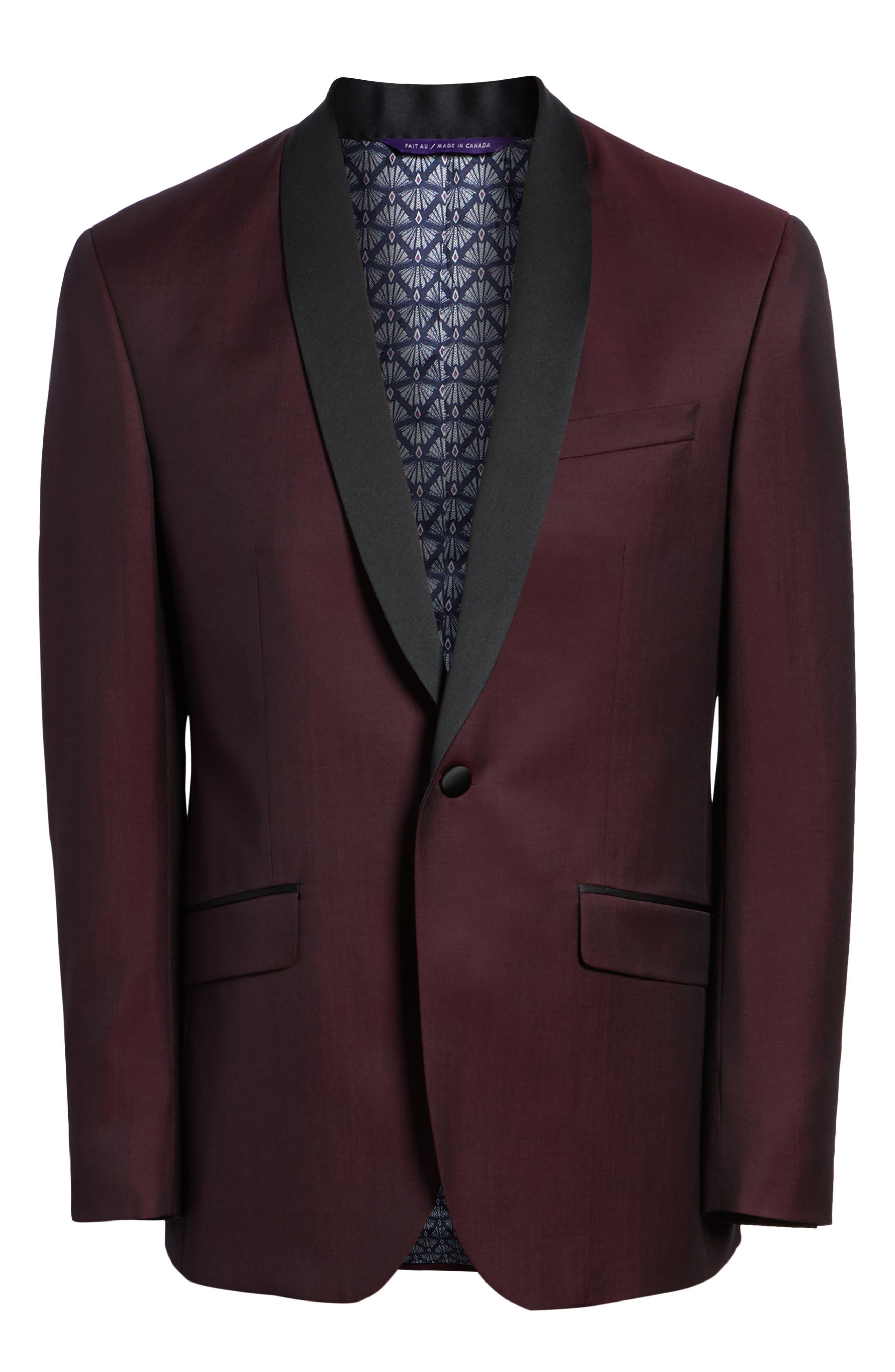 Josh Trim Fit Wool & Mohair Dinner Jacket,                             Alternate thumbnail 5, color,                             BERRY
