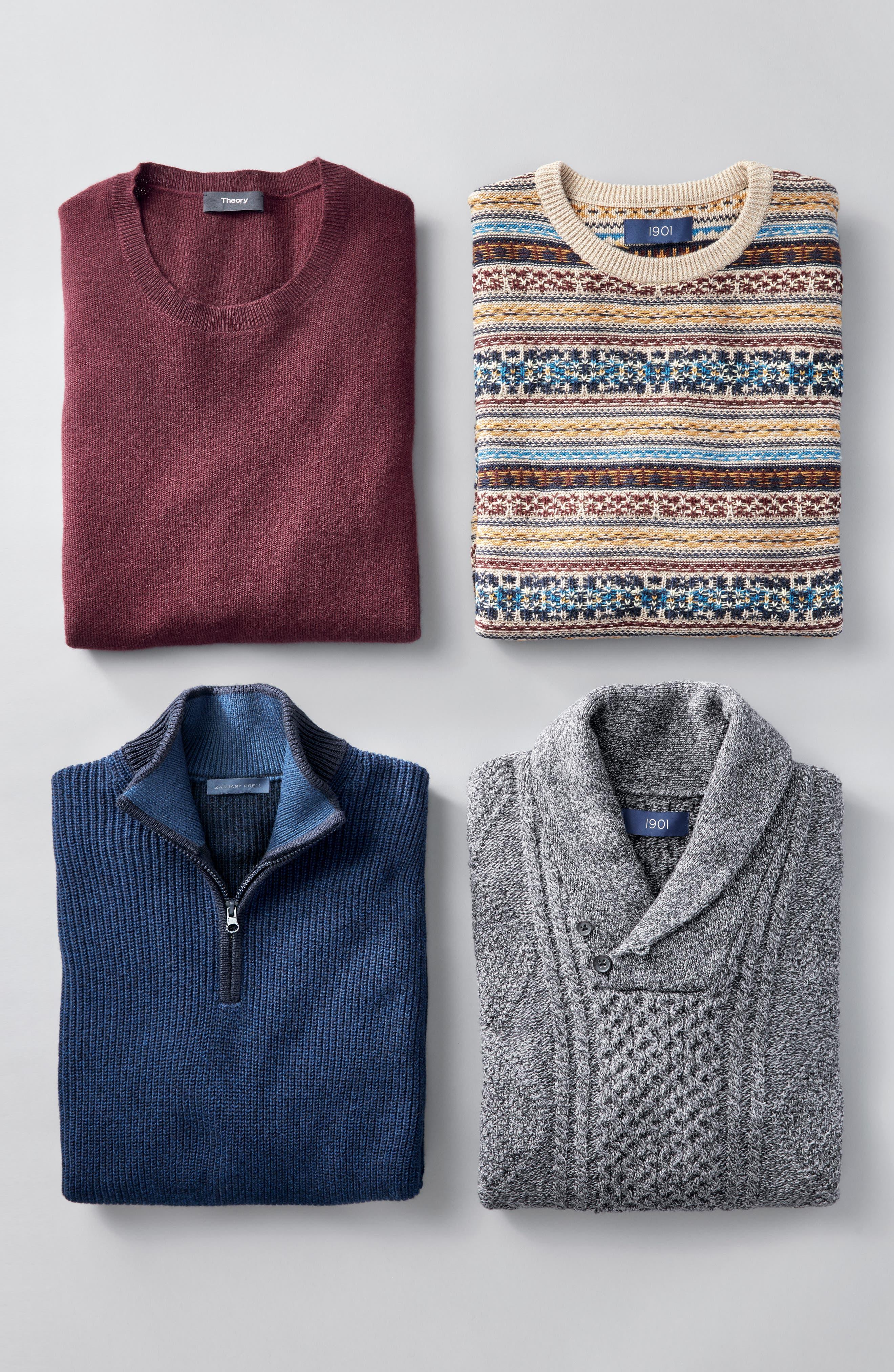 Fillmore Quarter Zip Sweater,                             Alternate thumbnail 7, color,                             NAVY