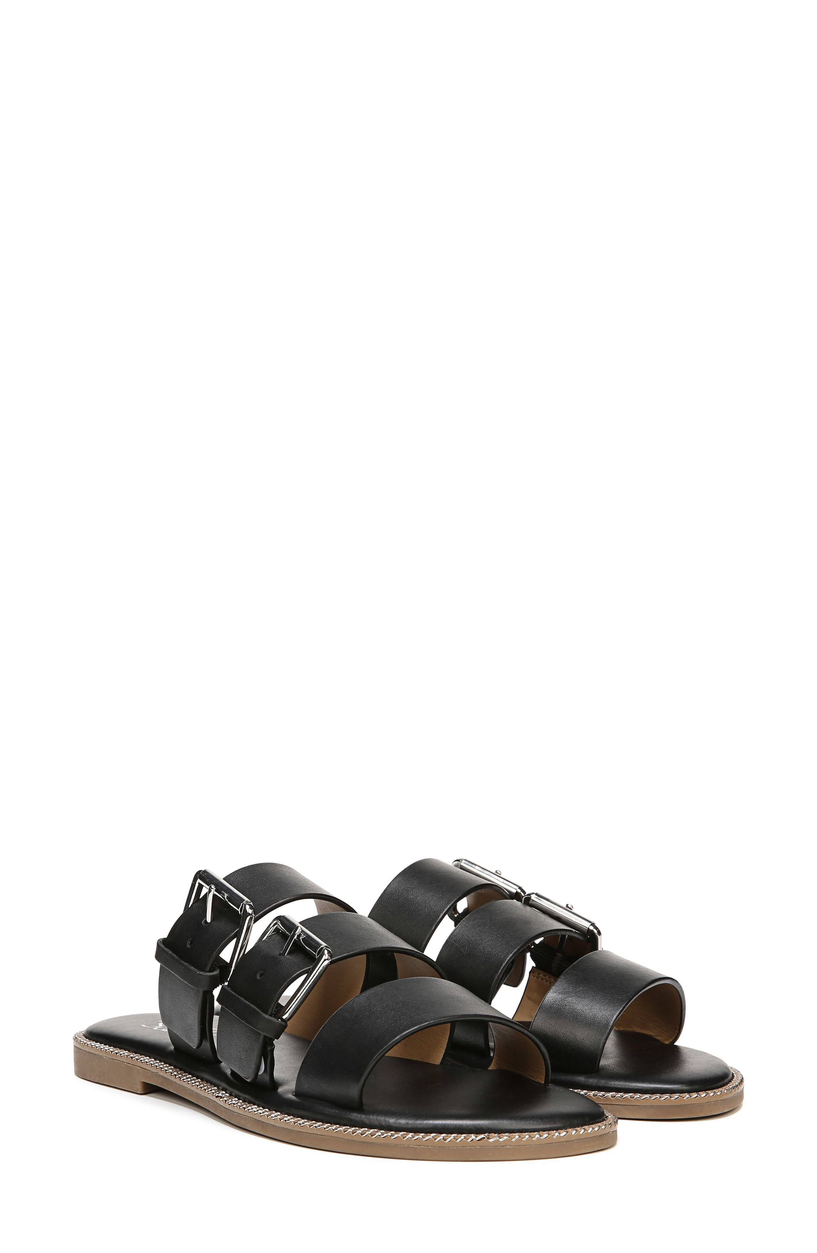 SARTO by Franco Sarto Kasa Three Strap Slide Sandal,                         Main,                         color, BLACK LEATHER