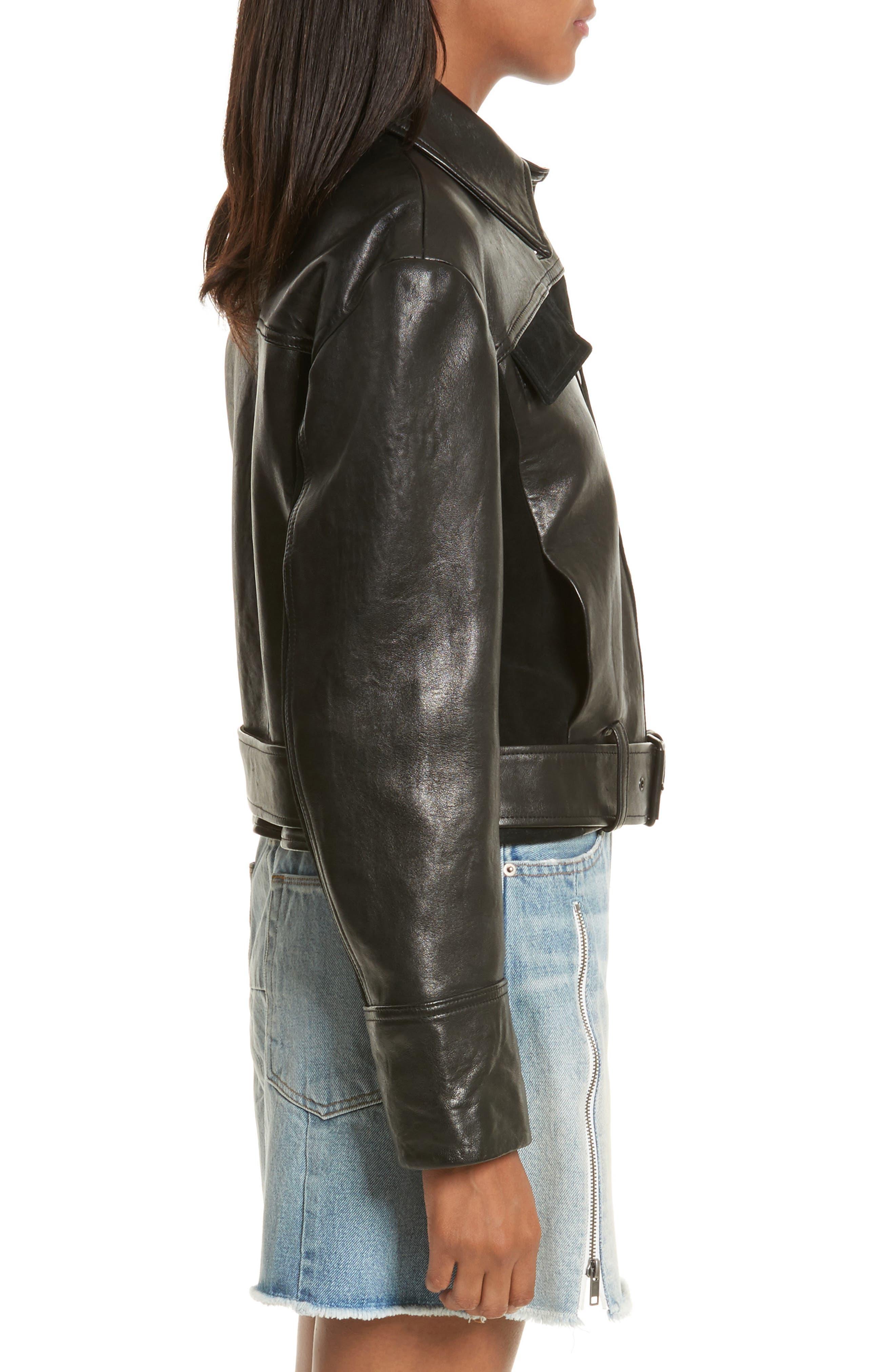 Paneled Leather & Suede Jacket,                             Alternate thumbnail 3, color,