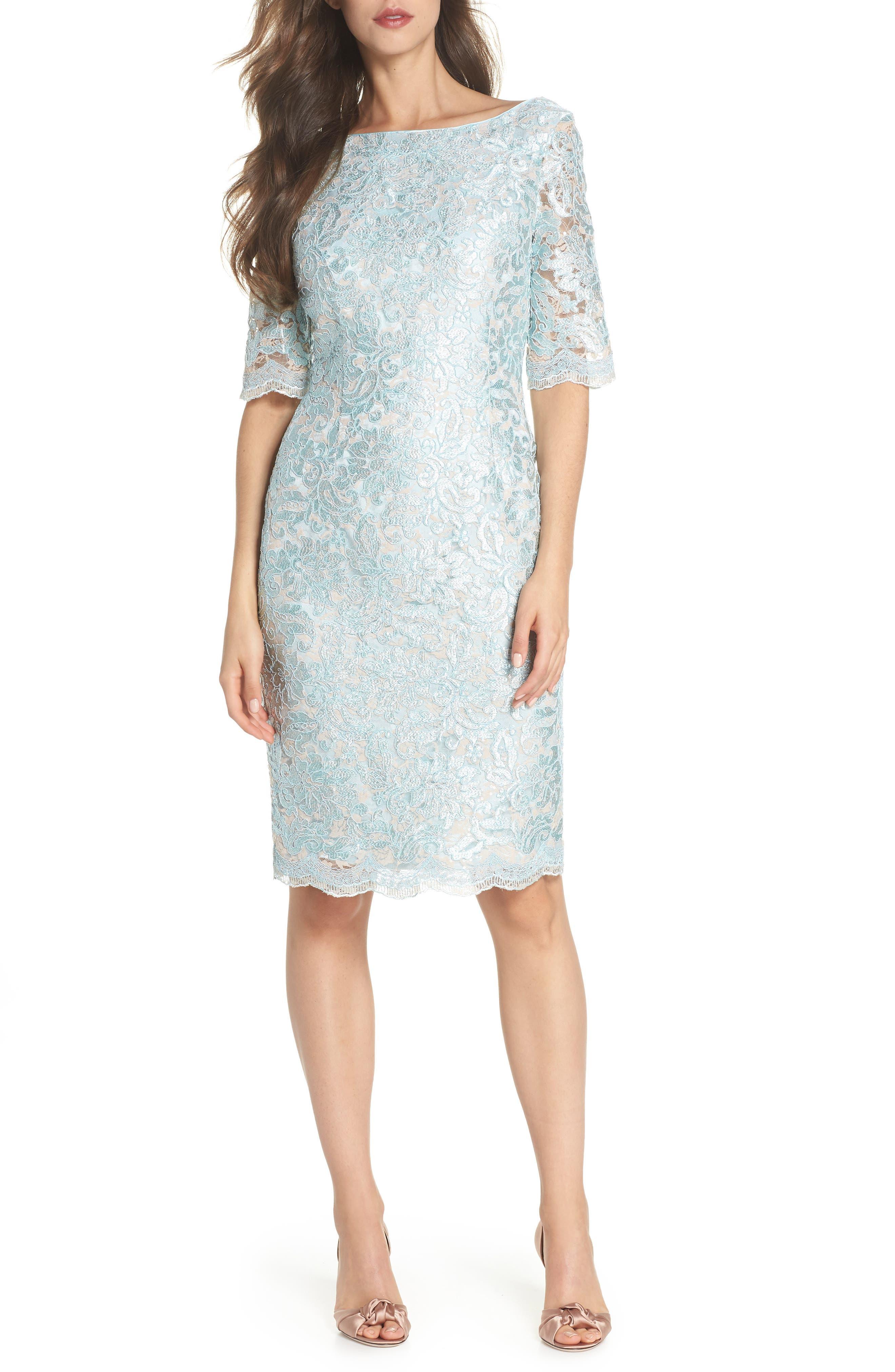 ELIZA J Lace Sheath Dress, Main, color, 330