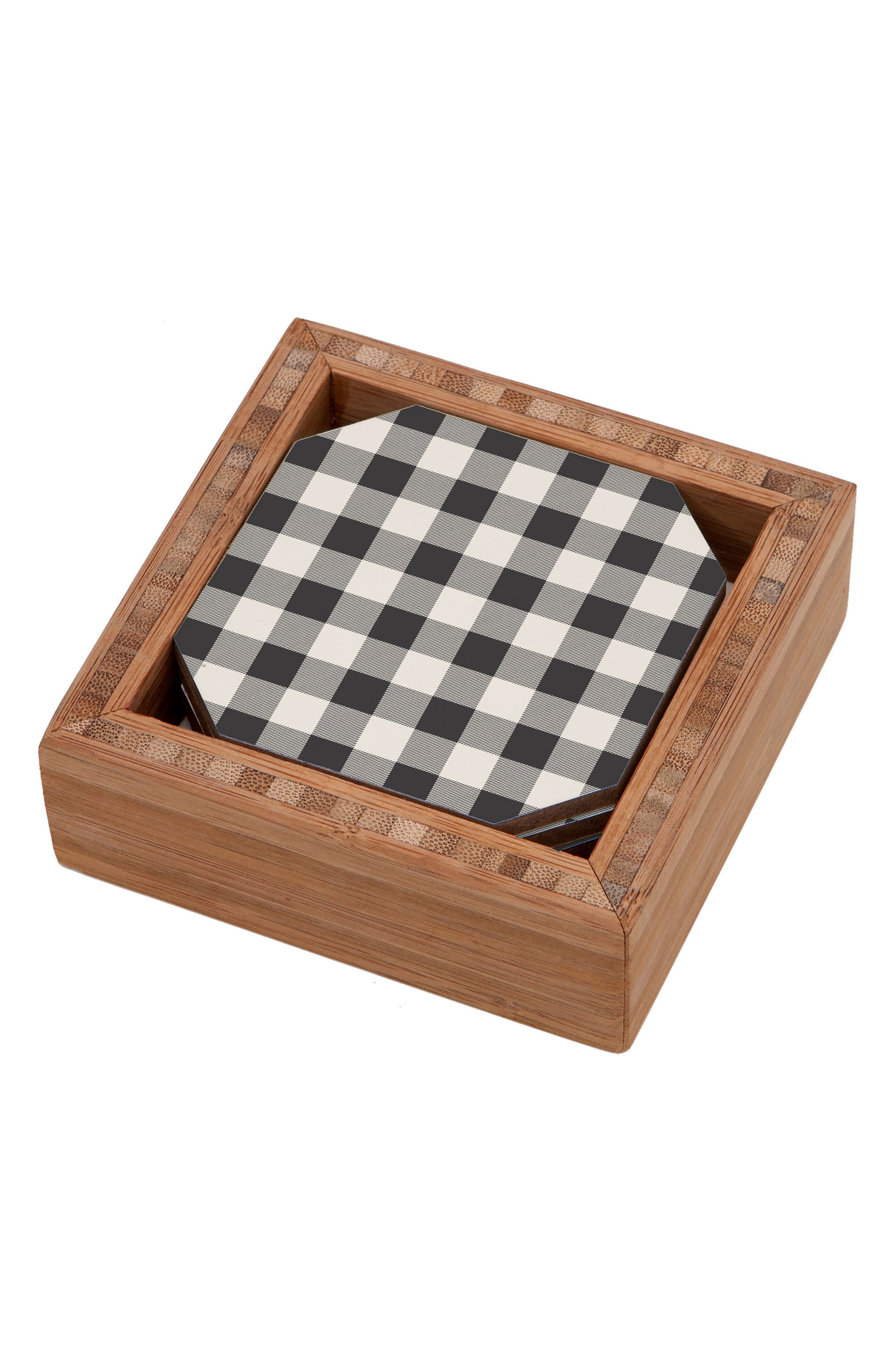 Gingham Set of 4 Coasters,                         Main,                         color, 400