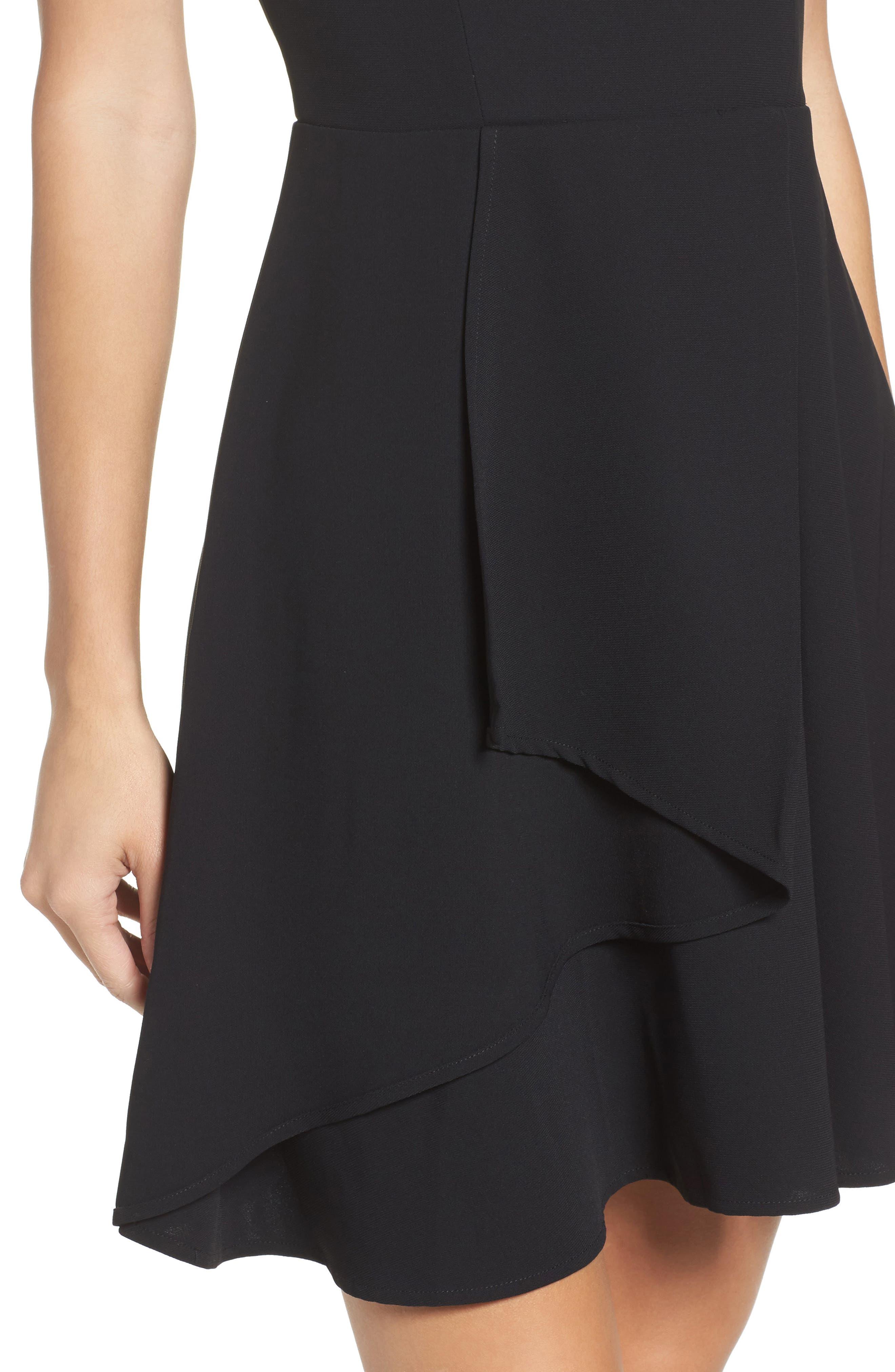 Athena Fit & Flare Dress,                             Alternate thumbnail 4, color,                             001