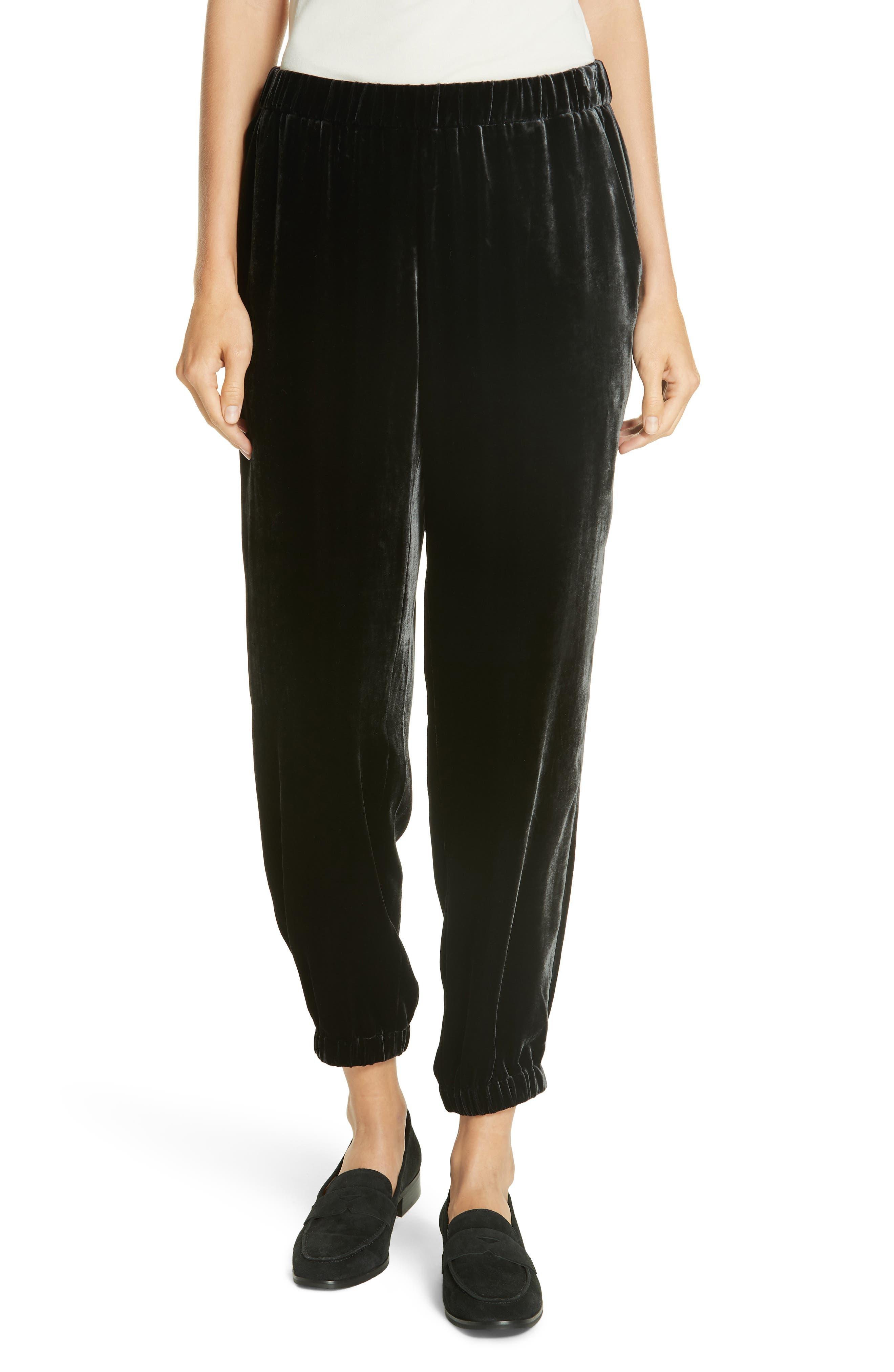 Velvet Jogger Pants,                         Main,                         color, CHARCOAL
