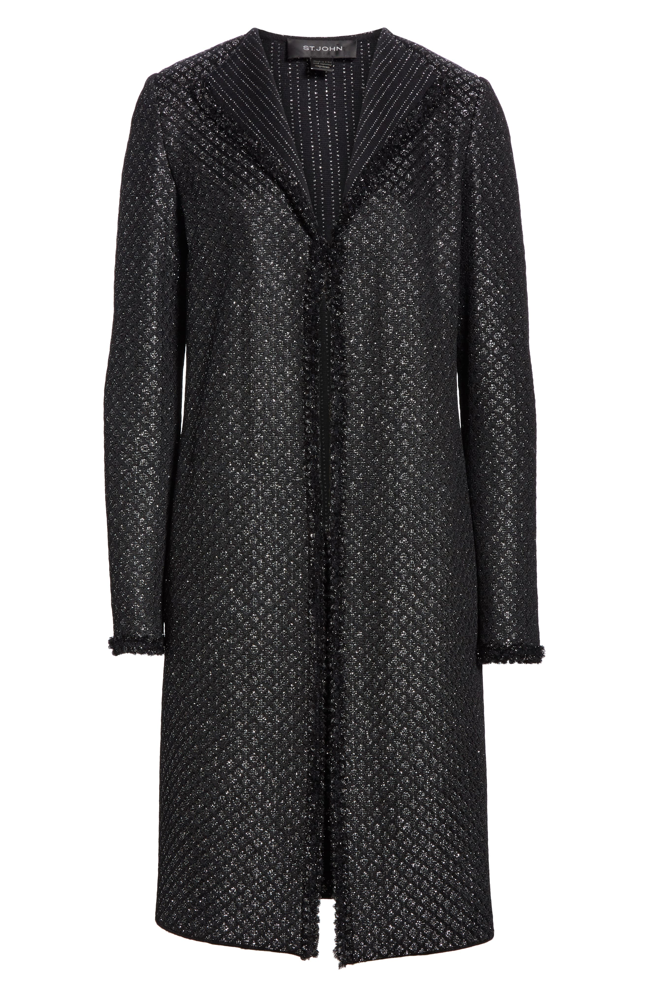 Shimmer Inlay Brocade Knit Jacket,                             Alternate thumbnail 6, color,                             CAVIAR/ SILVER