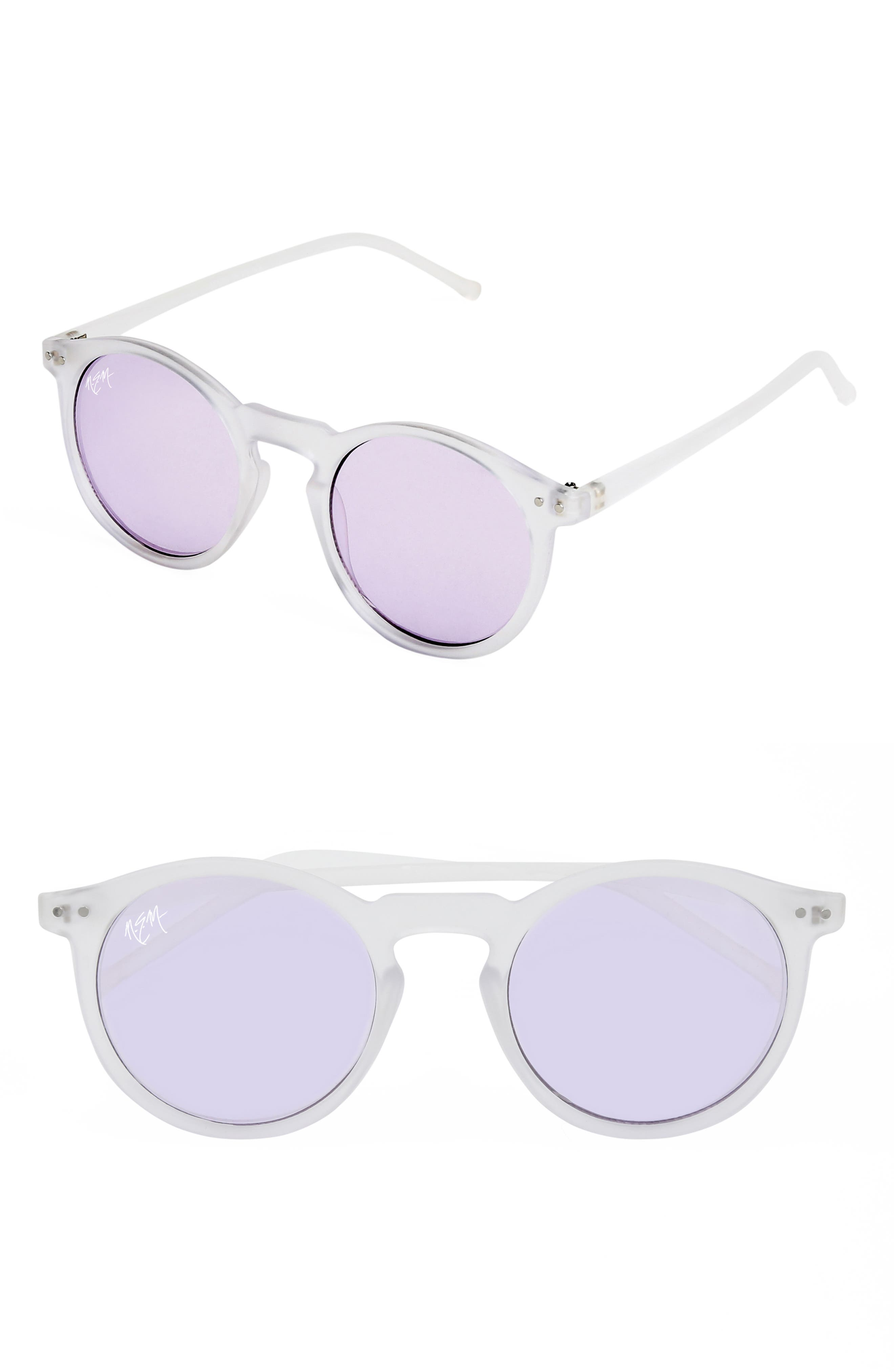 Nem 50Mm Mirrored Round Sunglasses - Clear Sky Blue/ Tint