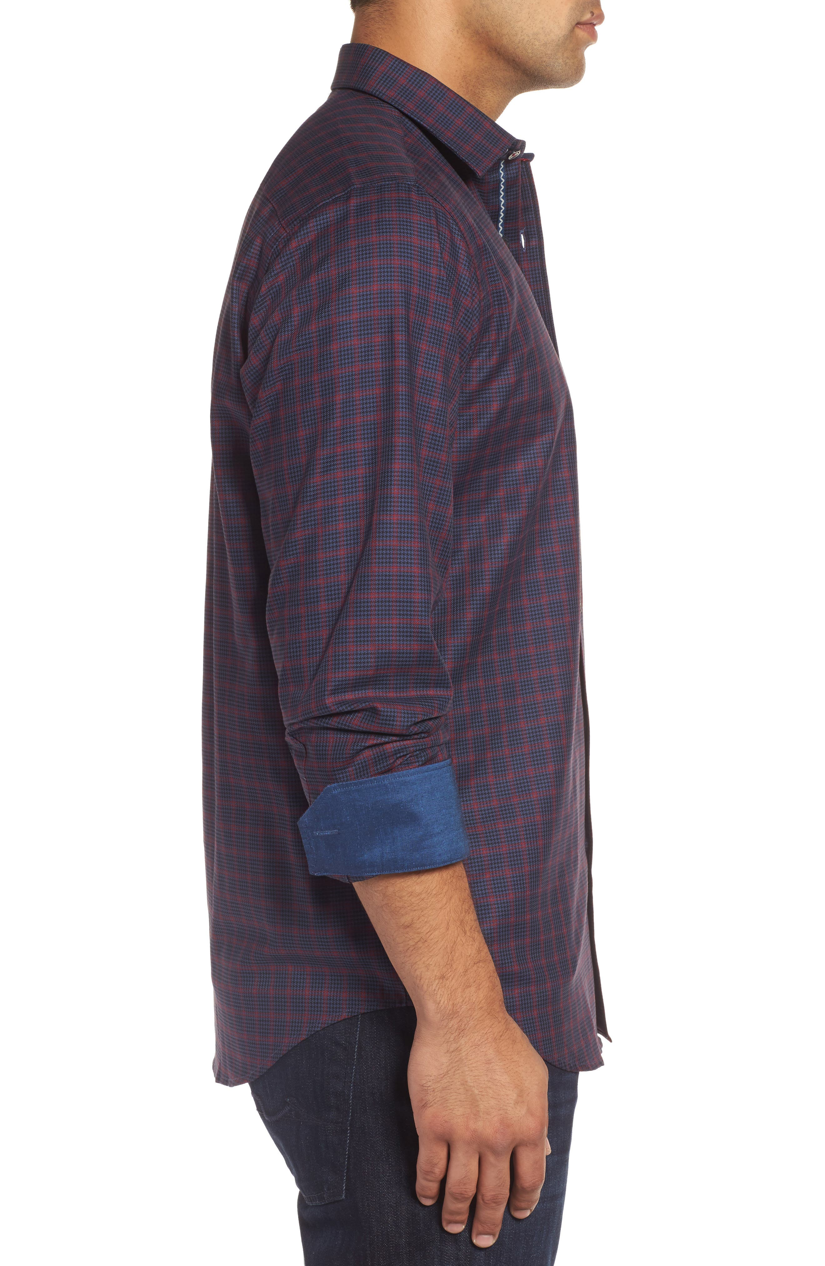 Classic Fit Houndstooth Check Sport Shirt,                             Alternate thumbnail 3, color,