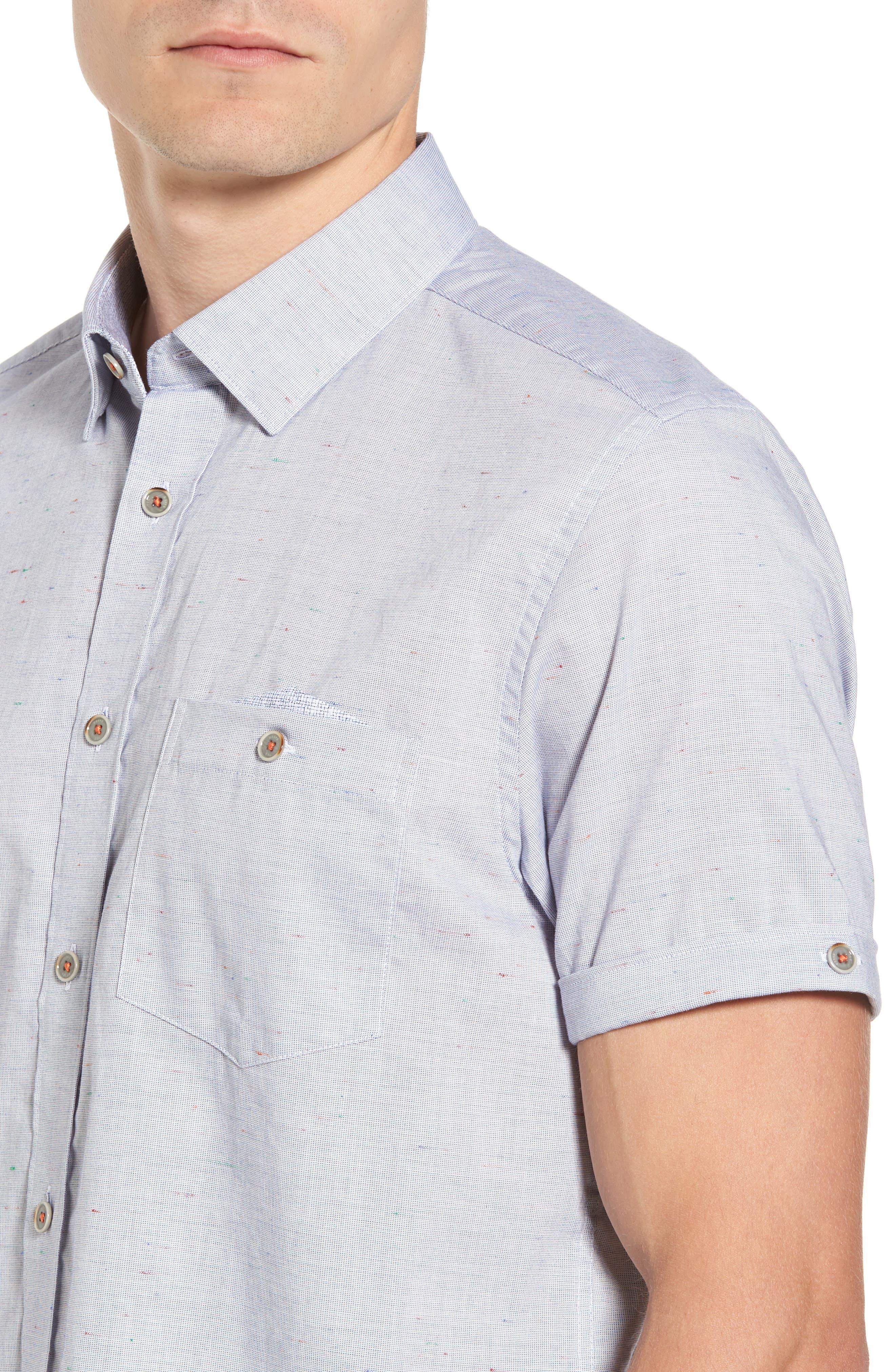 Beya Slim Fit Nepped Woven Shirt,                             Alternate thumbnail 4, color,                             421