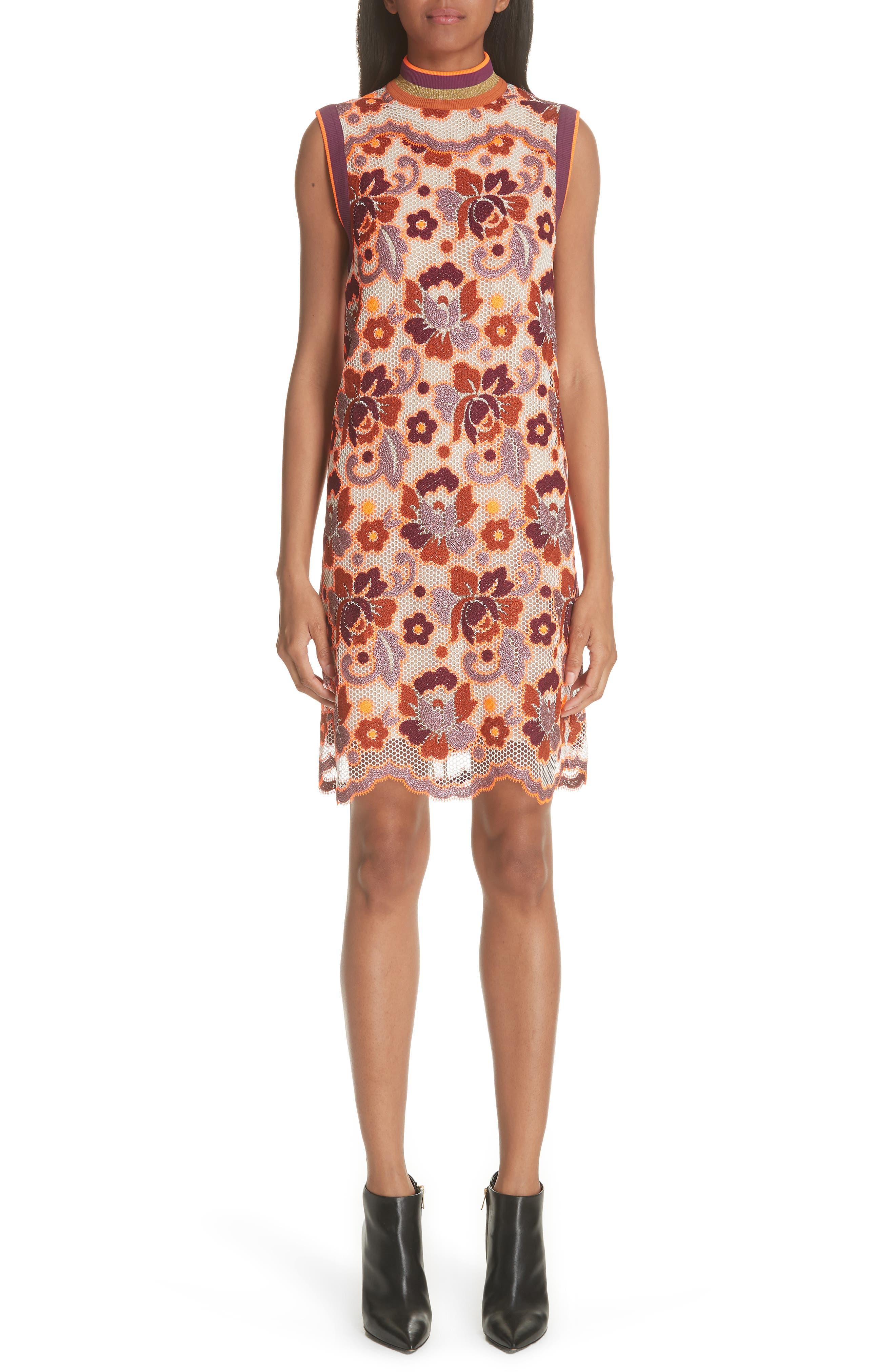 Burberry Edna Floral Crochet Shift Dress, 8 IT - Orange