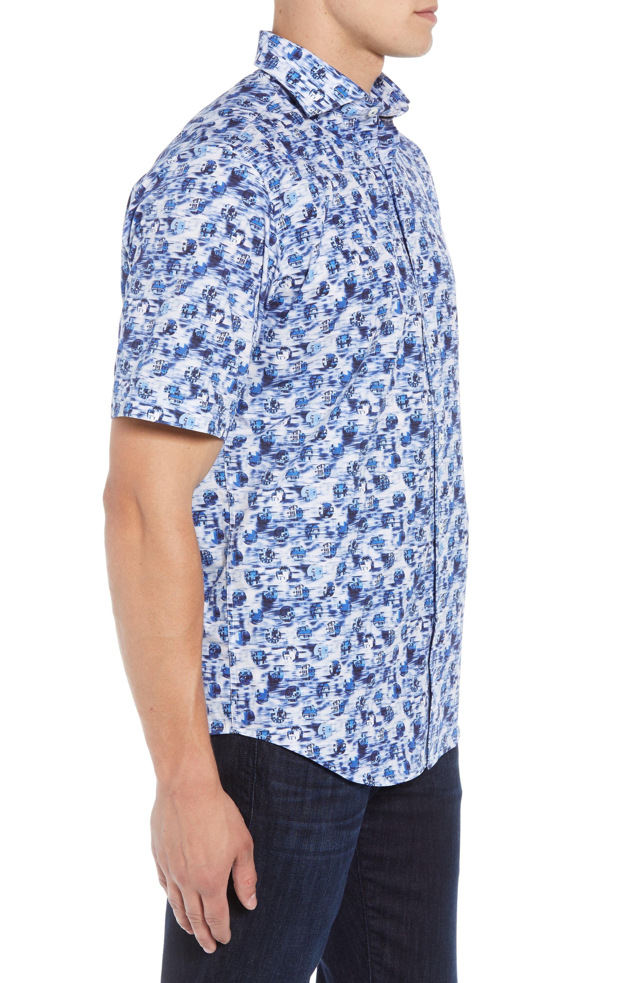 BUGATCHI,                             Classic Fit Print Sport Shirt,                             Alternate thumbnail 4, color,                             DUSTY BLUE