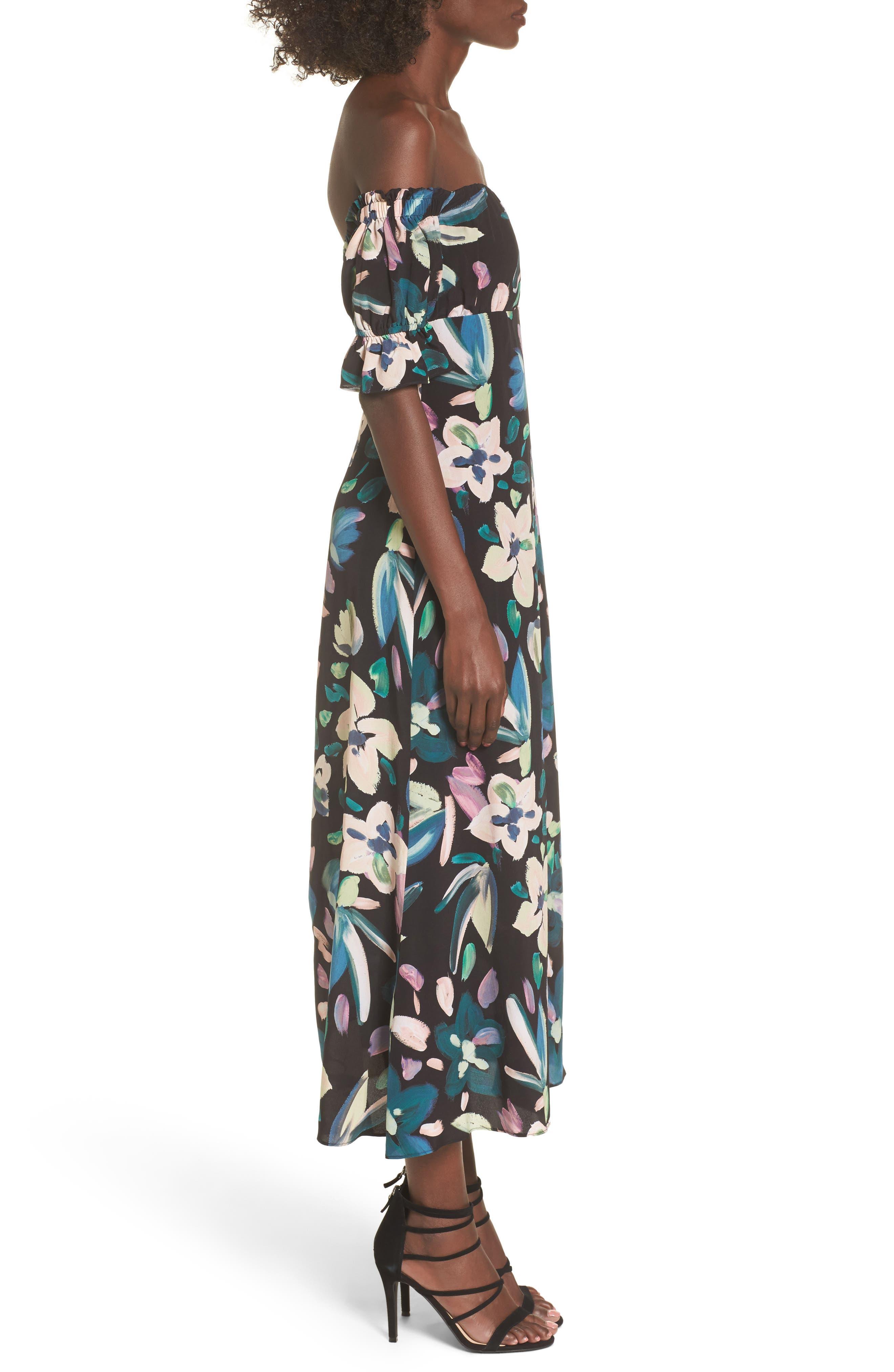 Flores Off the Shoulder Midi Dress,                             Alternate thumbnail 3, color,                             001