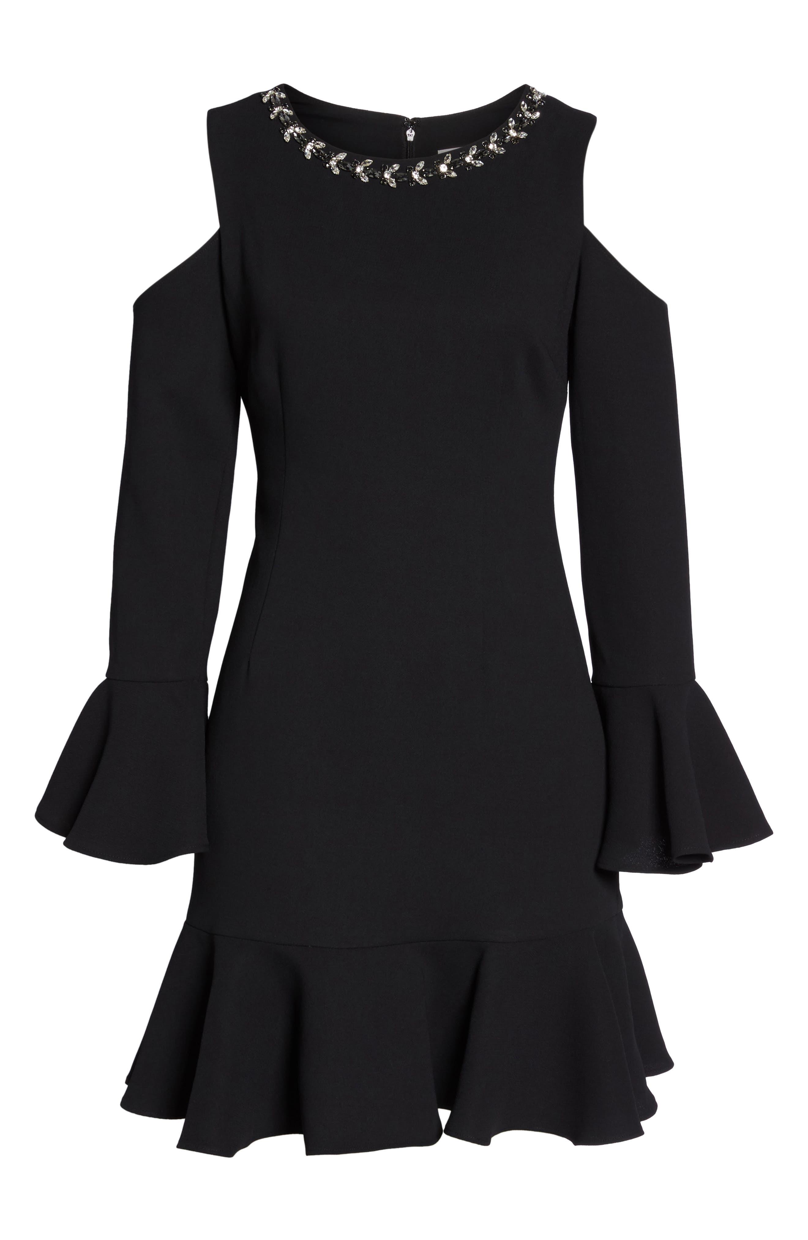 Cold Shoulder Flare Hem Dress,                             Alternate thumbnail 6, color,                             001