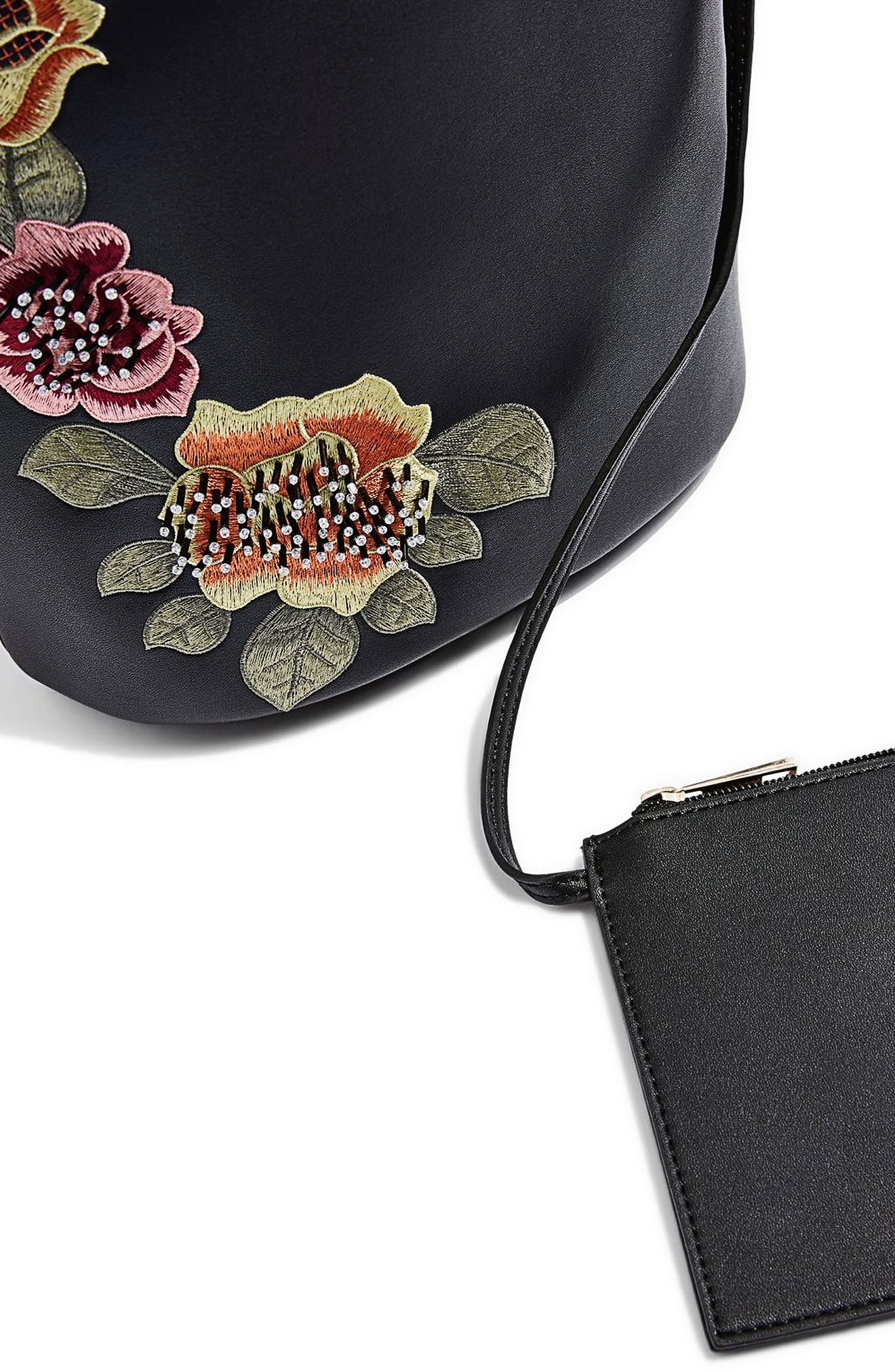 Sadie Floral Faux Leather Bucket Bag,                             Alternate thumbnail 7, color,
