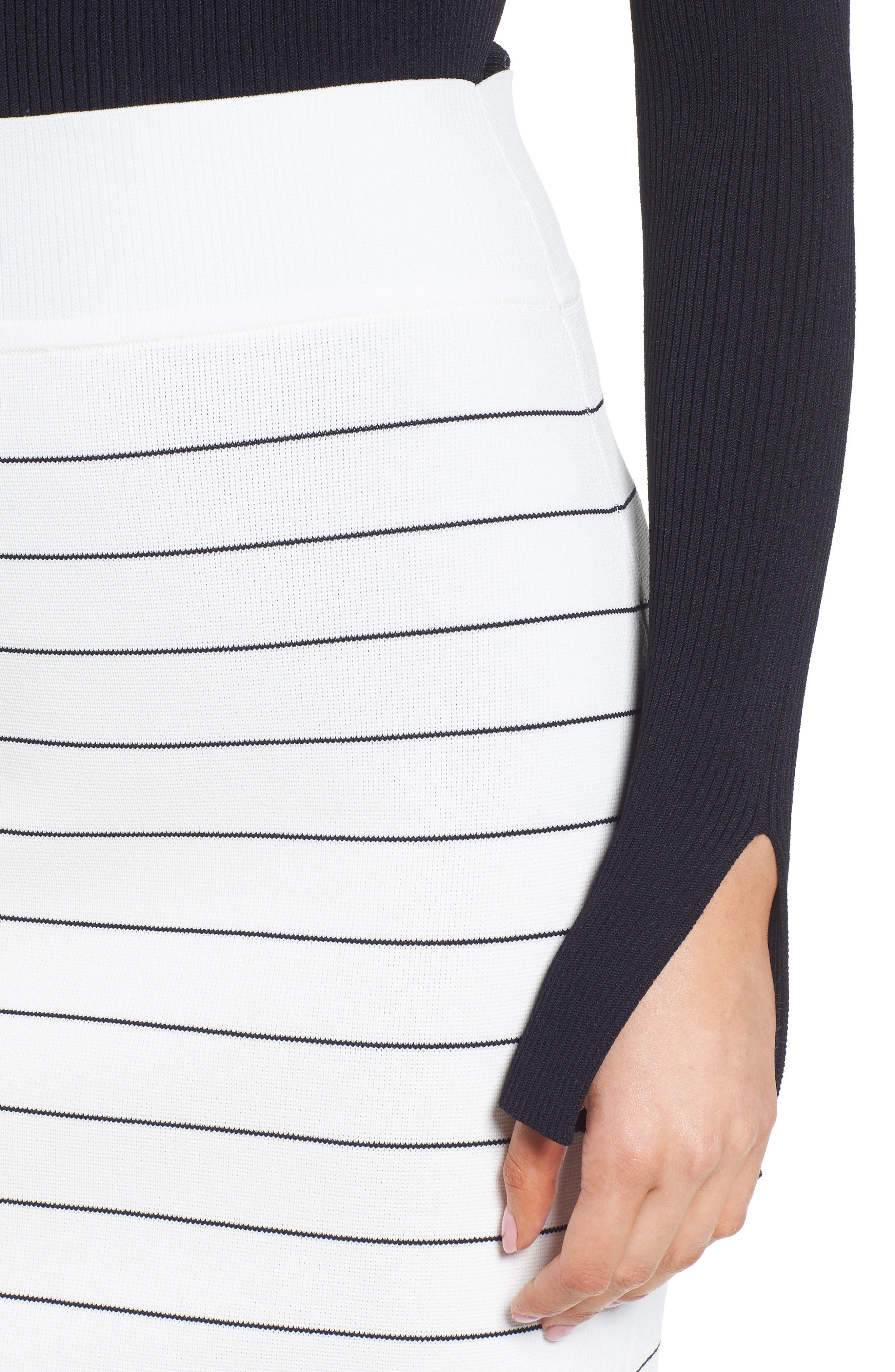 Fairuza Stripe Knit Pencil Skirt,                             Alternate thumbnail 4, color,                             170